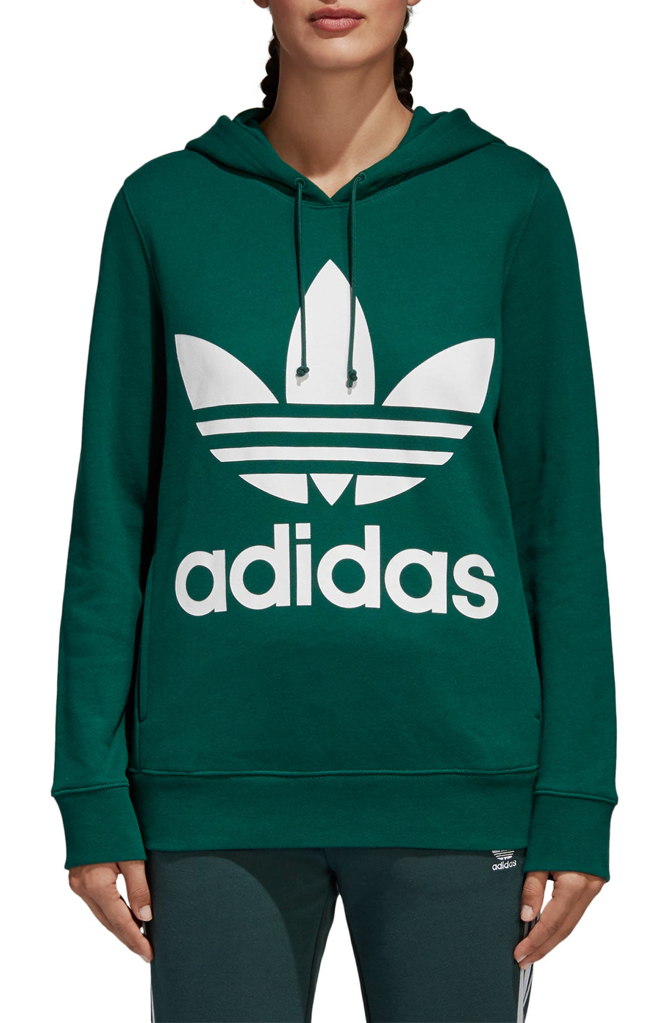 ADIDAS ORIGINALS, adidas Trefoil Logo Hoodie, Main thumbnail 1, color, COLLEGIATE GREEN