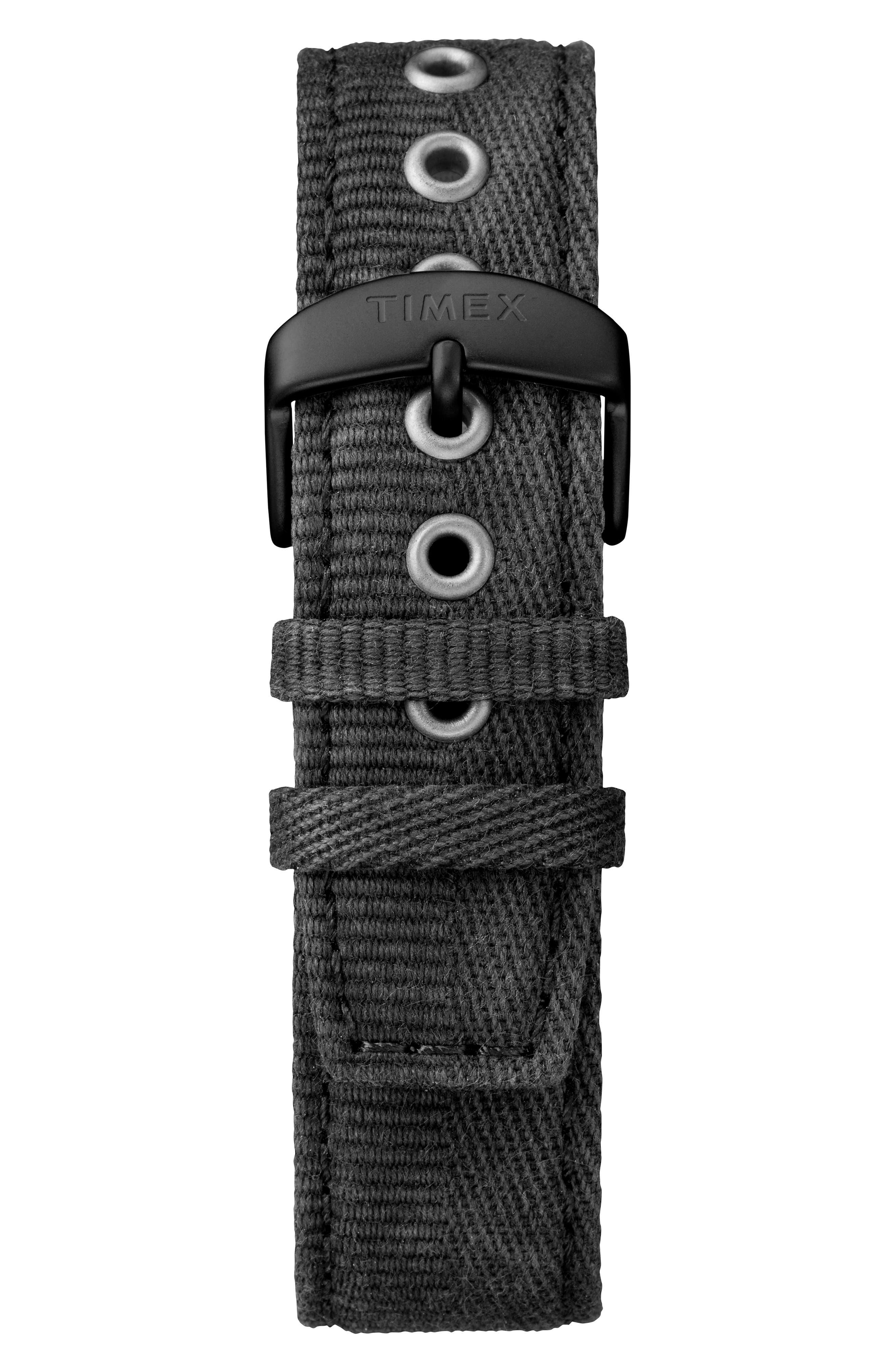 TIMEX<SUP>®</SUP>, MK1 Canvas Strap Watch, Alternate thumbnail 2, color, BLACK