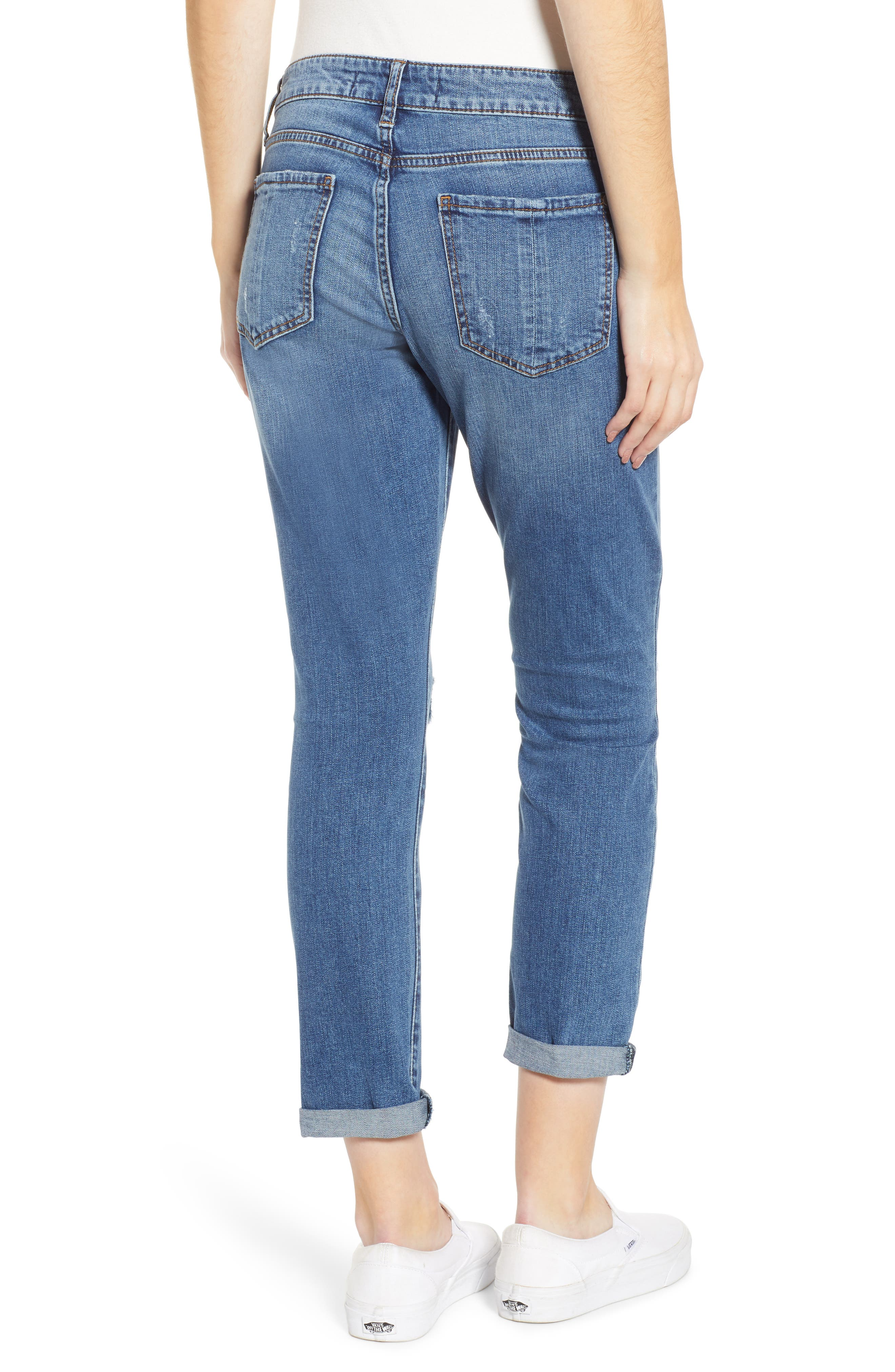 PROSPERITY DENIM, Distressed Ankle Boyfriend Jeans, Alternate thumbnail 2, color, MEDIUM WASH