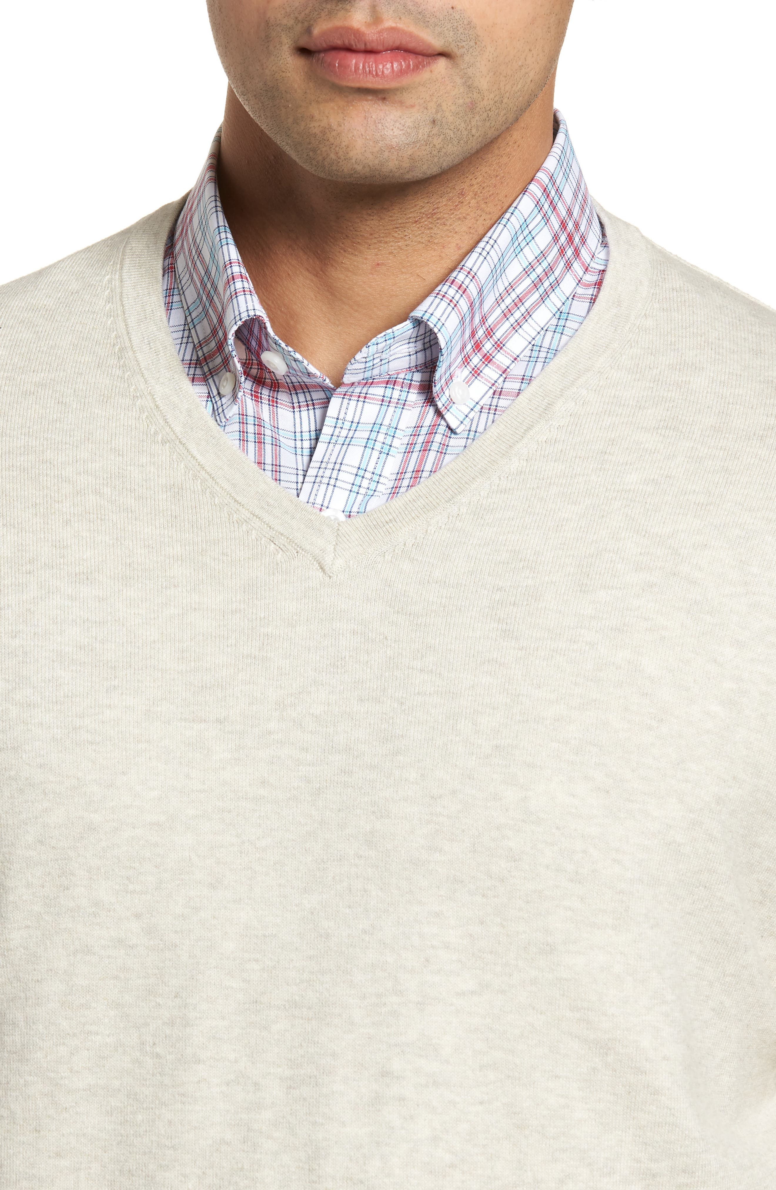 CUTTER & BUCK, Lakemont Classic Fit V-Neck Sweater, Alternate thumbnail 4, color, OATMEAL HEATHER