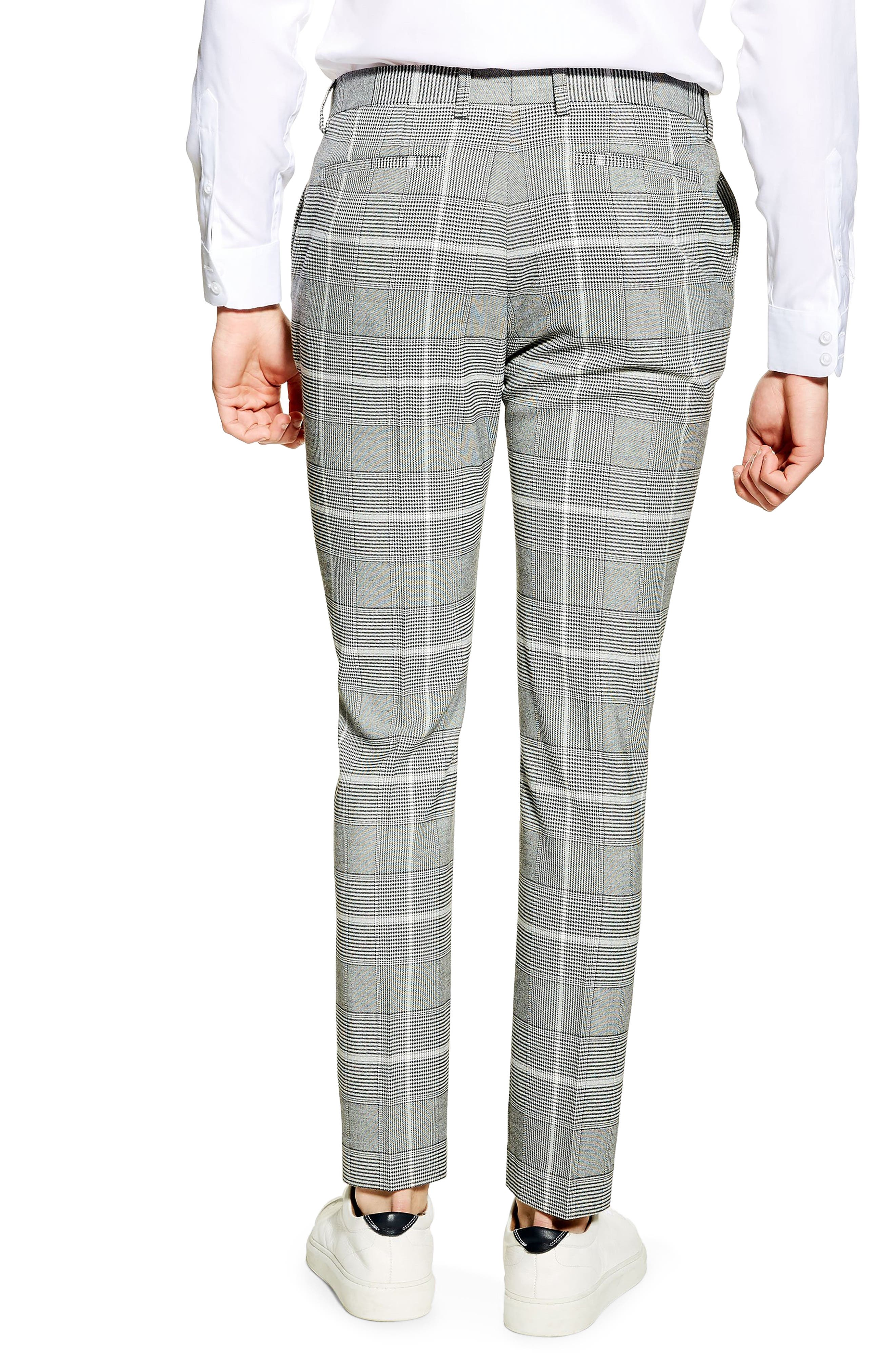 TOPMAN, Skinny Fit Check Trousers, Alternate thumbnail 2, color, 020