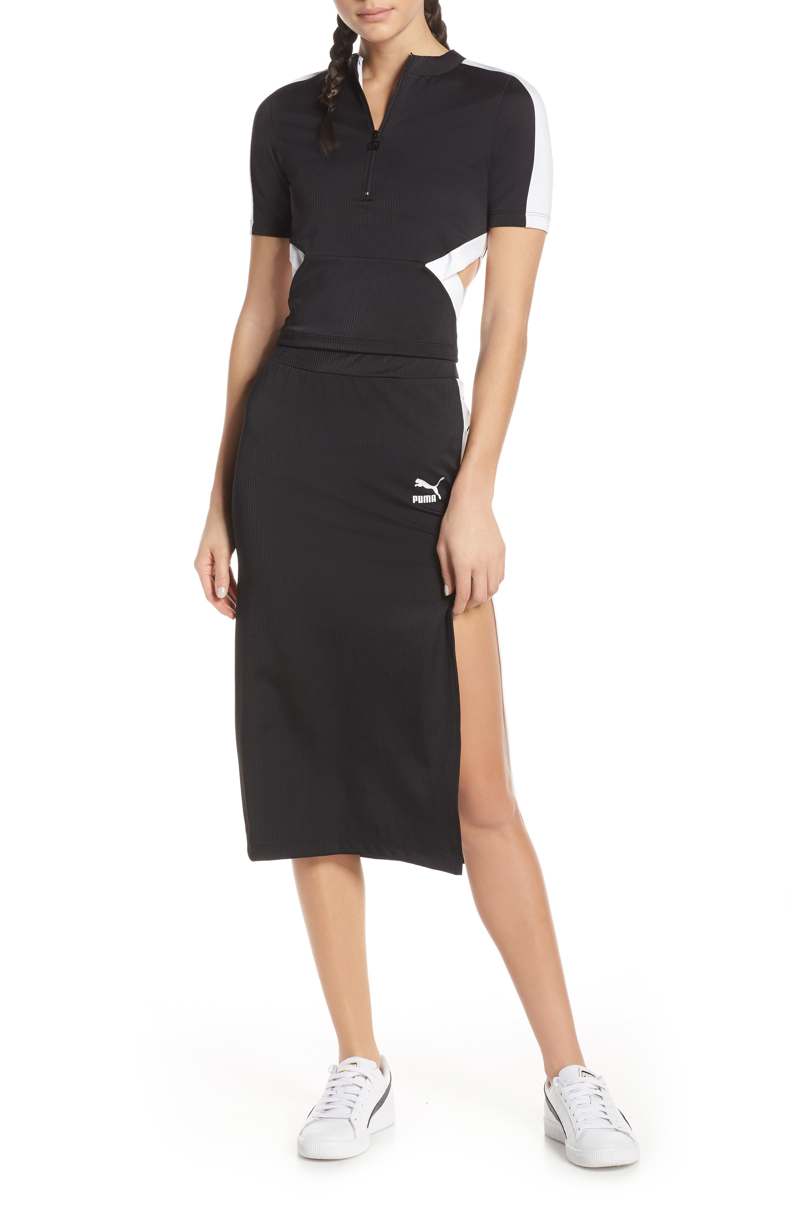 PUMA, Classics Ribbed Skirt, Alternate thumbnail 8, color, 001