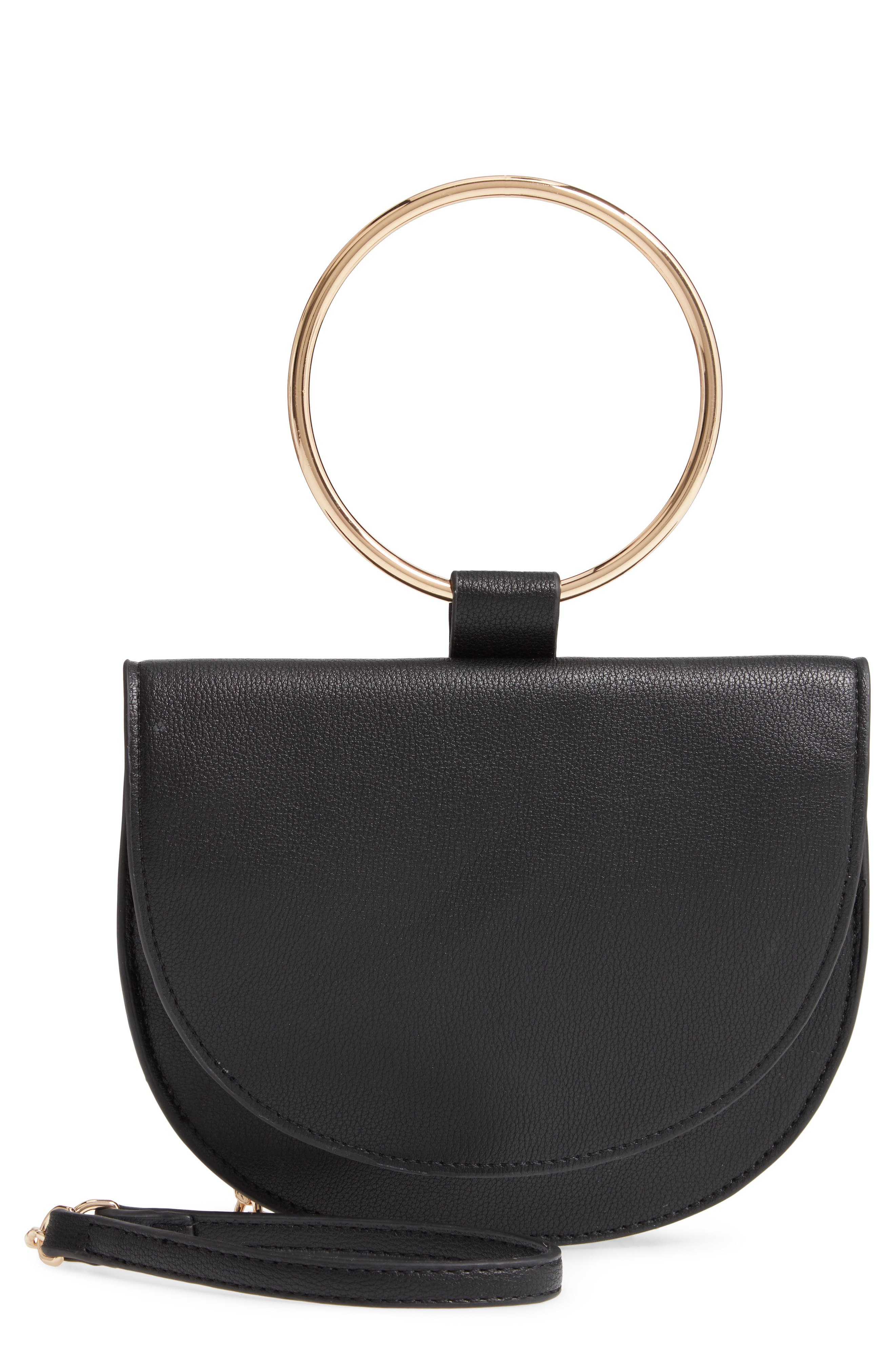 TROUVÉ Reese Faux Leather Ring Crossbody Bag, Main, color, BLACK