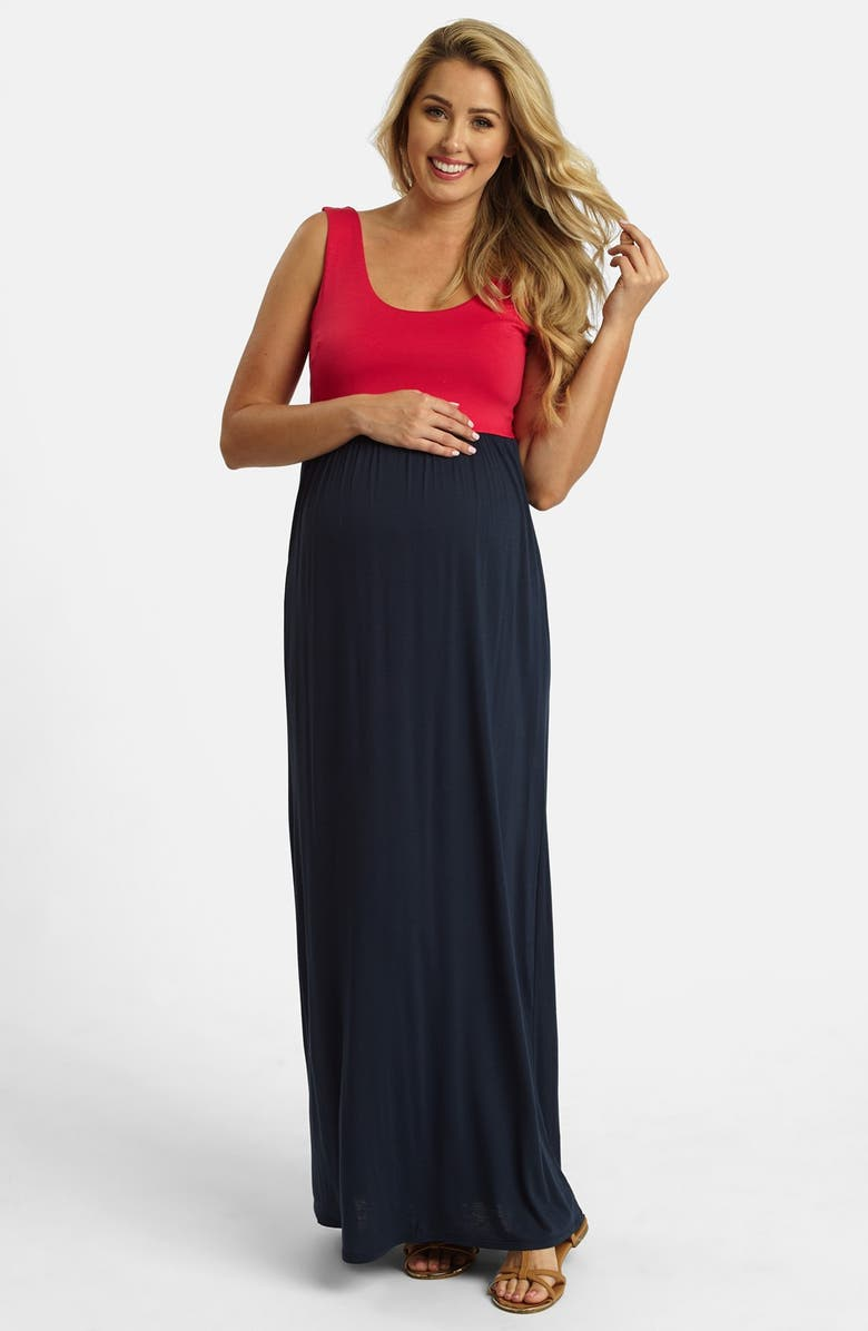 ce3d51f992b9b PINKBLUSH Colorblock Maxi Maternity Dress, Main, color, 400