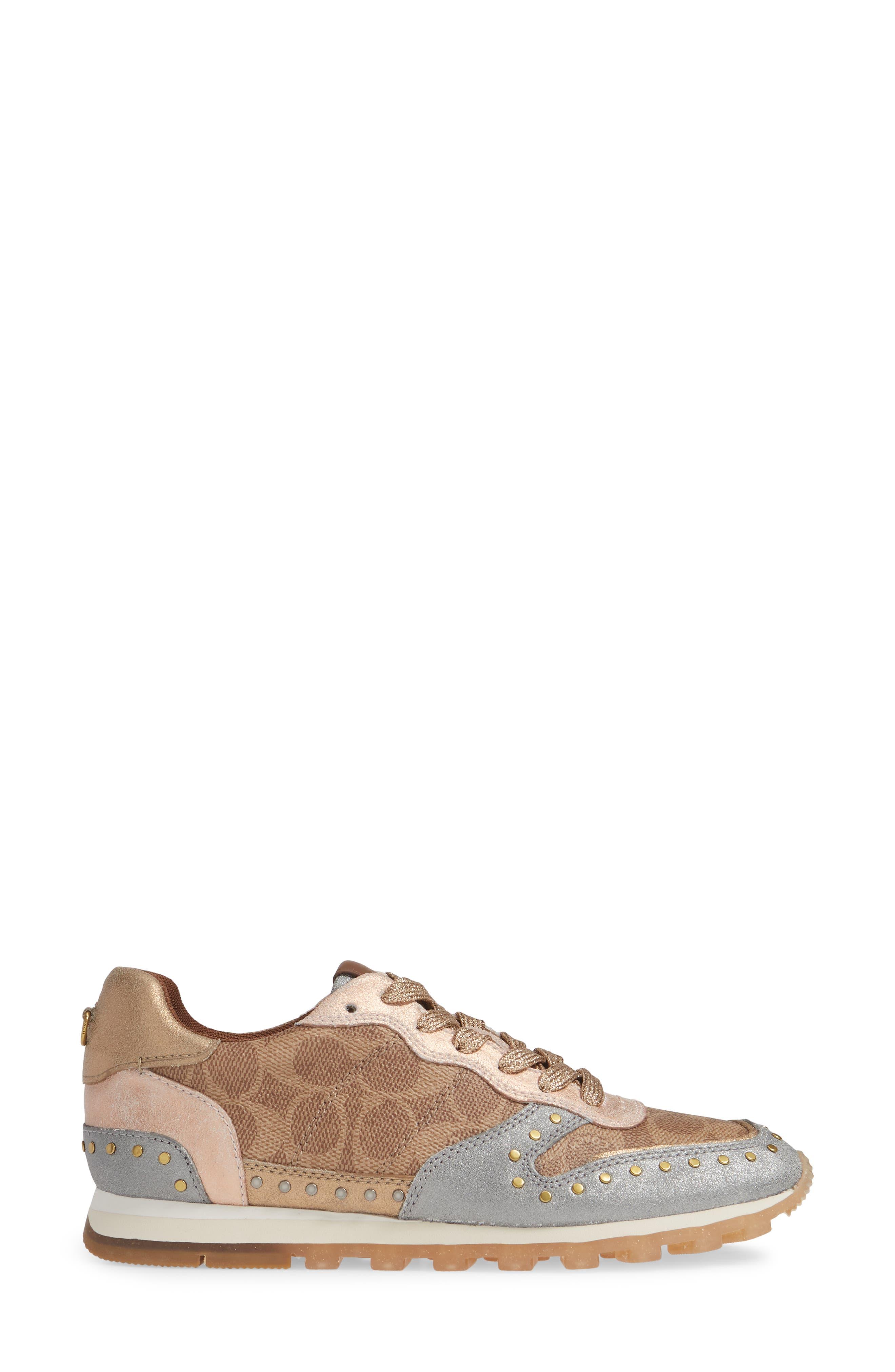 COACH, C118 Studded Sneaker, Alternate thumbnail 3, color, TAN/ GOLD MULTI