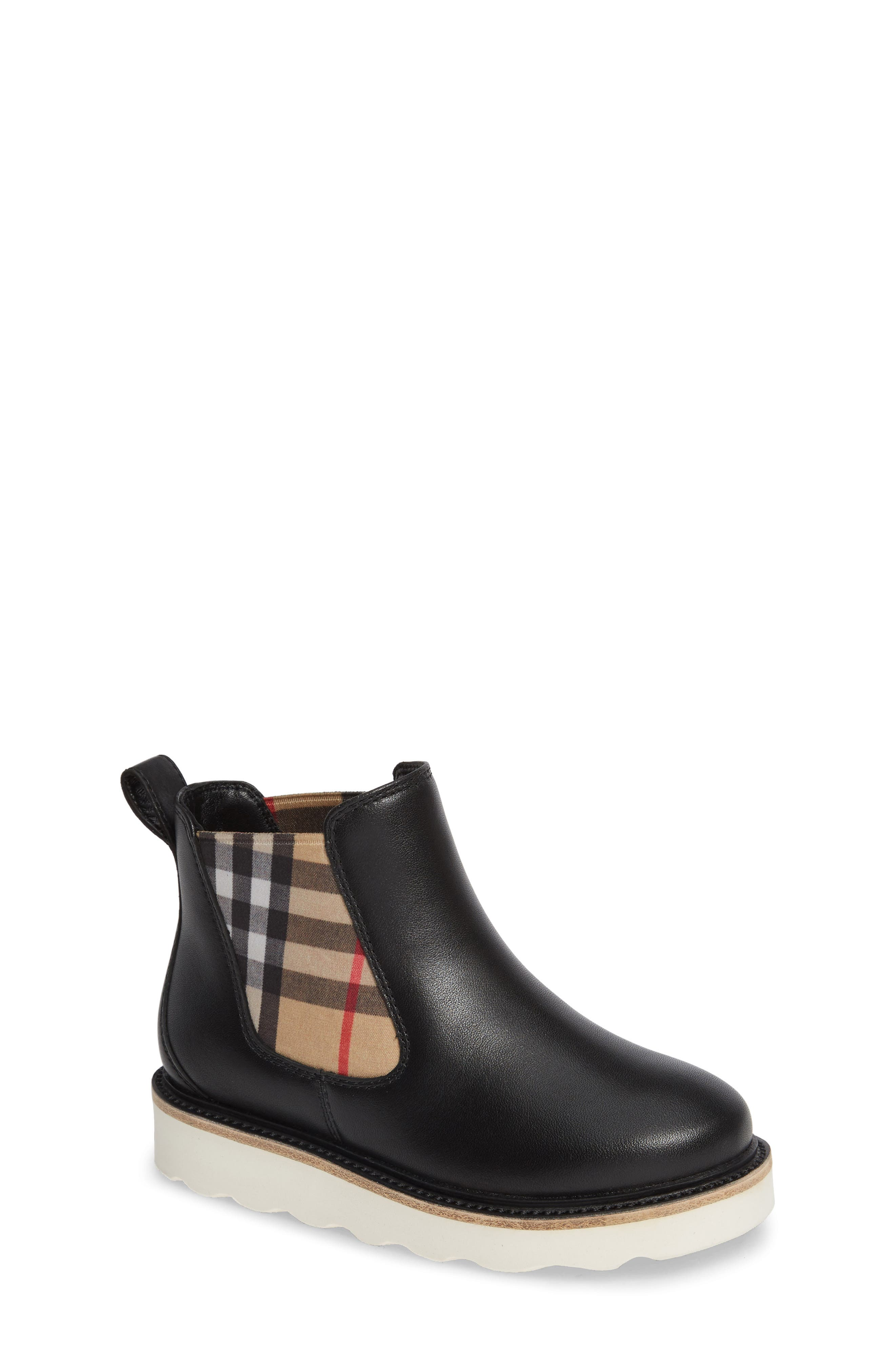 BURBERRY, Hayden Check Chelsea Bootie, Main thumbnail 1, color, BLACK