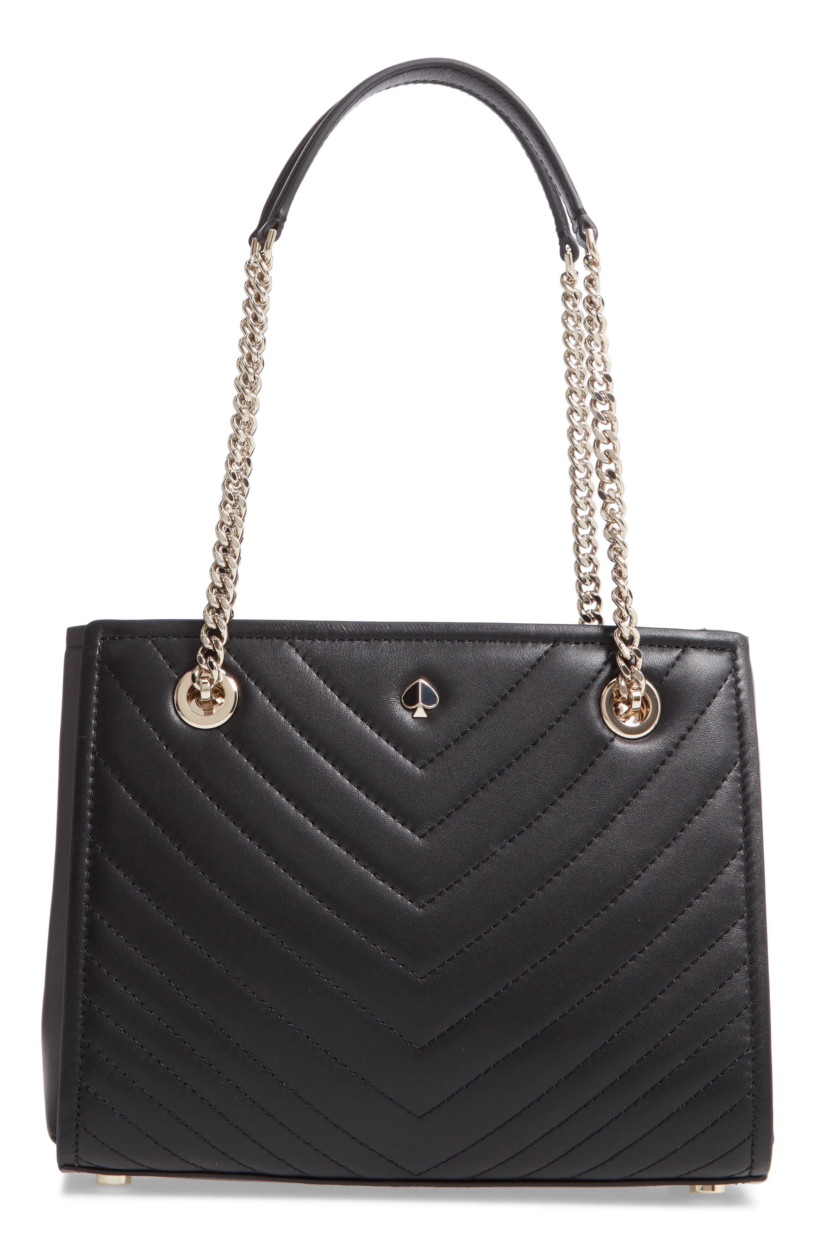 KATE SPADE NEW YORK, small amelia leather tote, Main thumbnail 1, color, BLACK