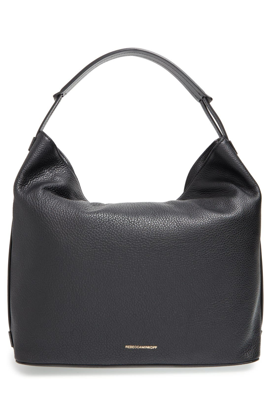 REBECCA MINKOFF, 'Isobel' Tassel Leather Hobo, Alternate thumbnail 3, color, 001