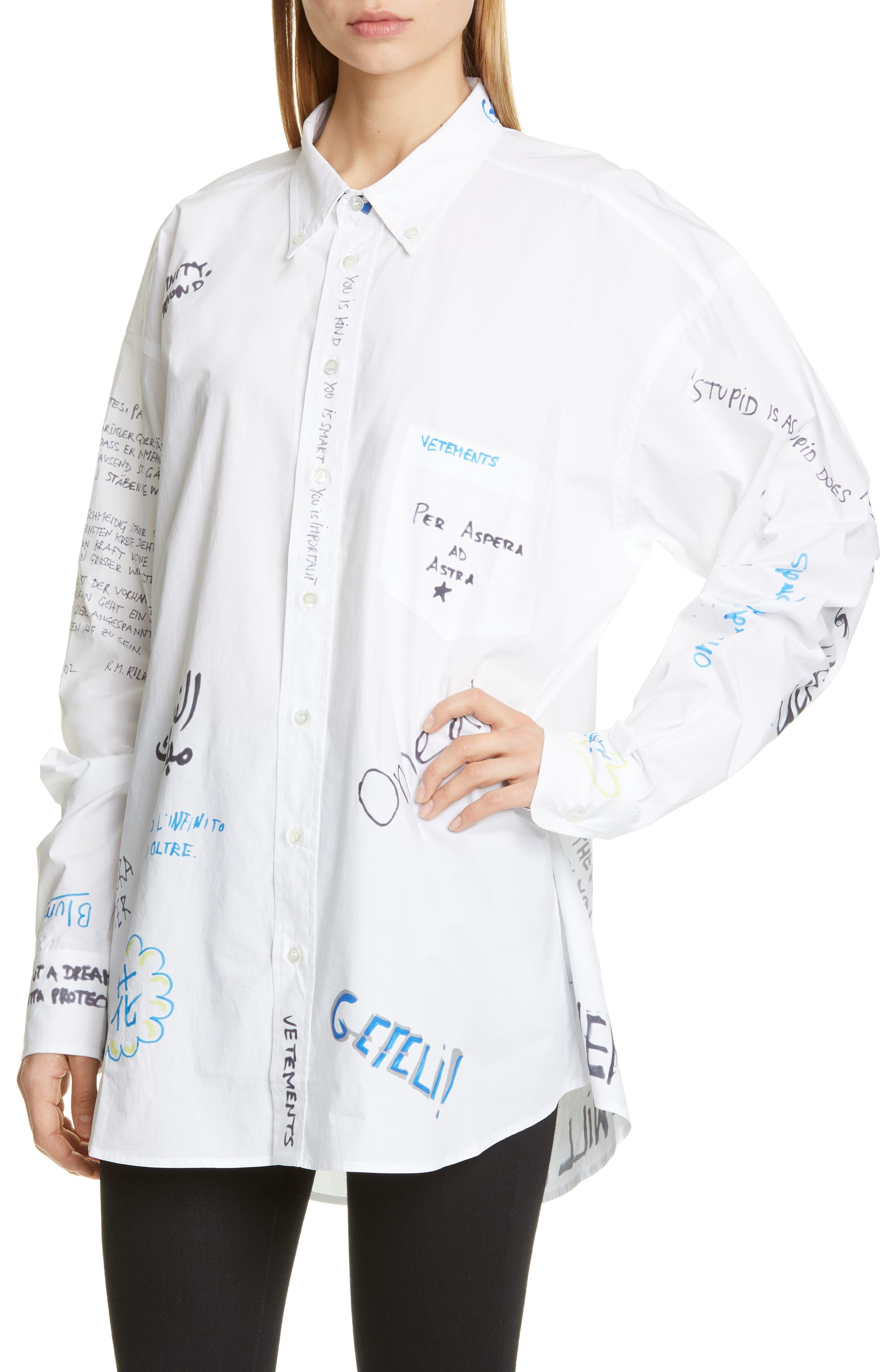 VETEMENTS, Scribble Print Oversize Shirt, Alternate thumbnail 4, color, WHITE
