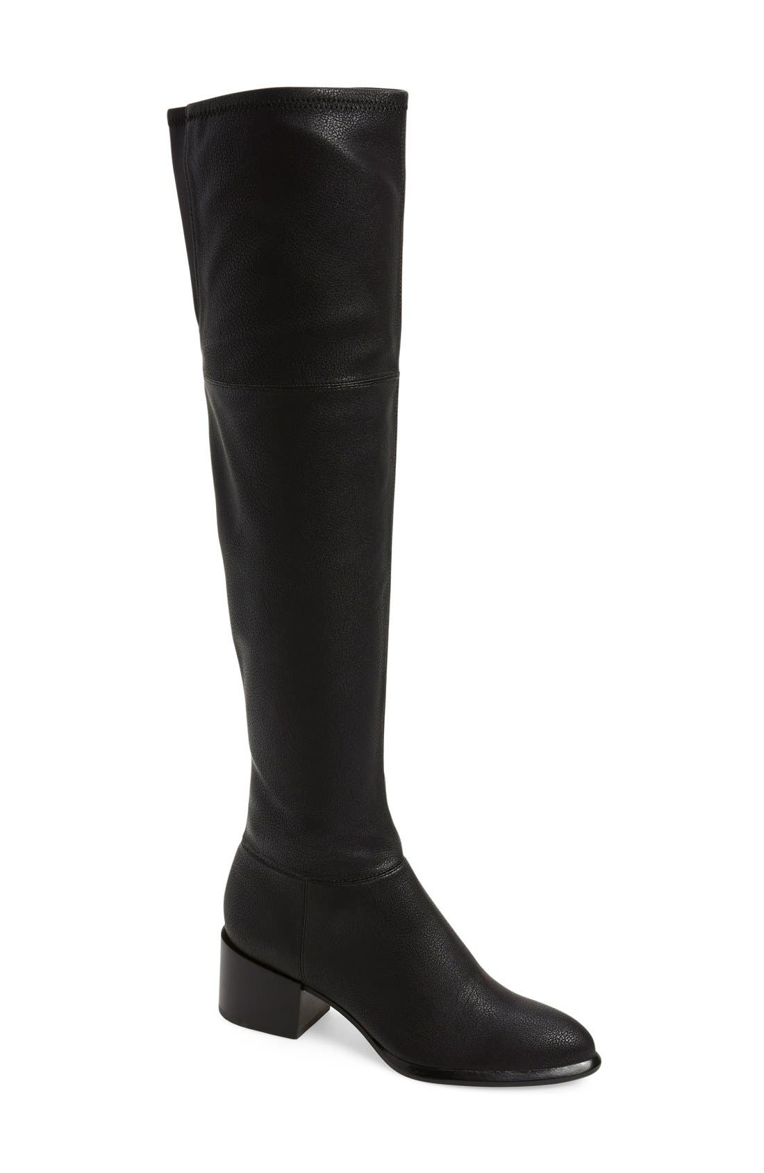 CALVIN KLEIN, 'Nani' Over The Knee Boot, Main thumbnail 1, color, 001