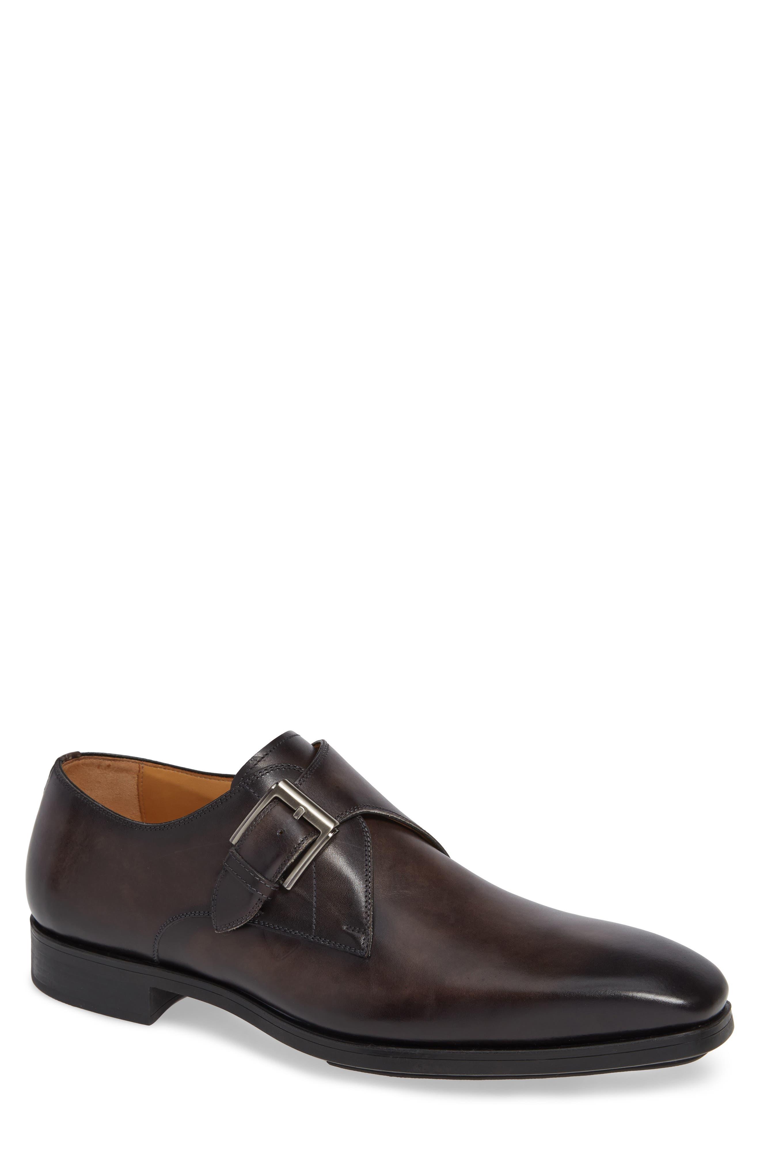 MAGNANNI, Roddy Diversa Plain Toe Monk Strap Shoe, Main thumbnail 1, color, GREY LEATHER