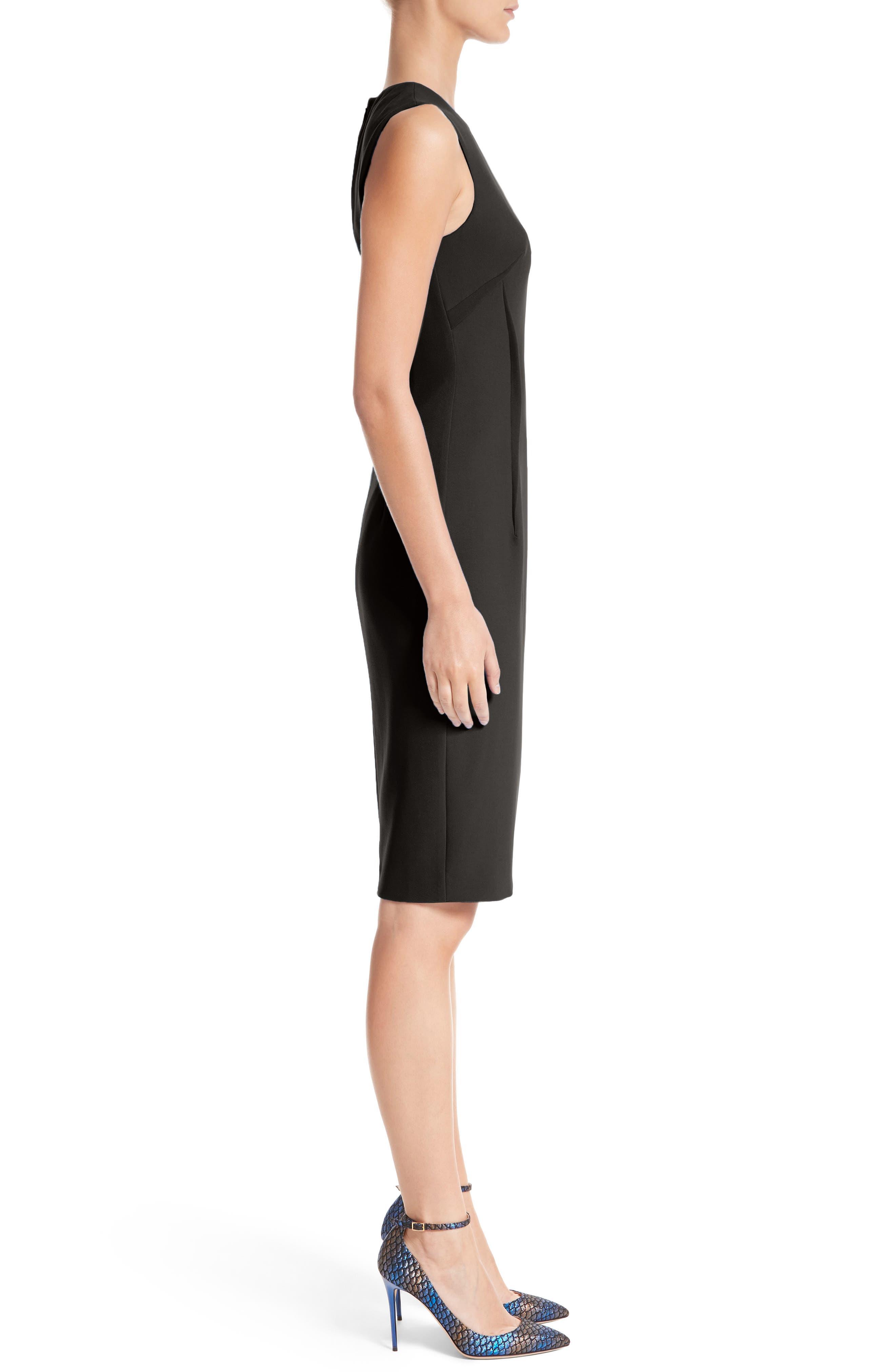 VERSACE COLLECTION, Stretch Cady Sheath Dress, Alternate thumbnail 3, color, BLACK