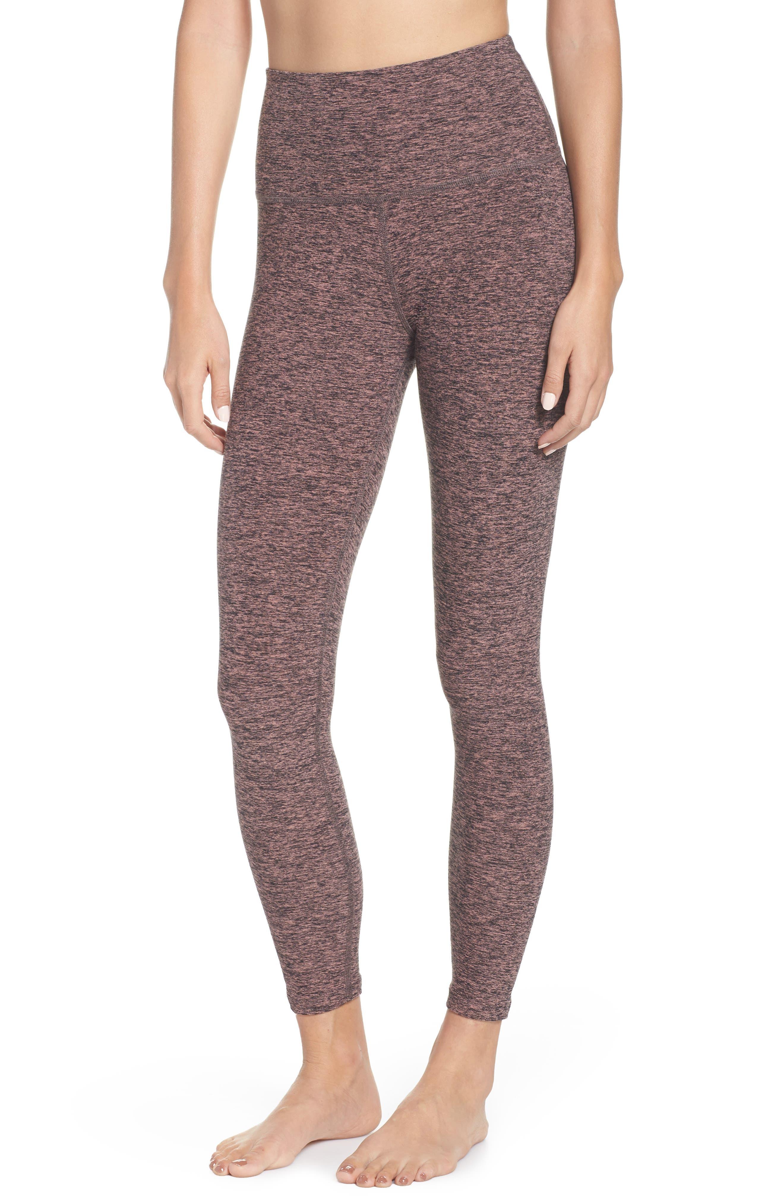 BEYOND YOGA Midi High Waist Leggings, Main, color, BLACK- PINK LEI