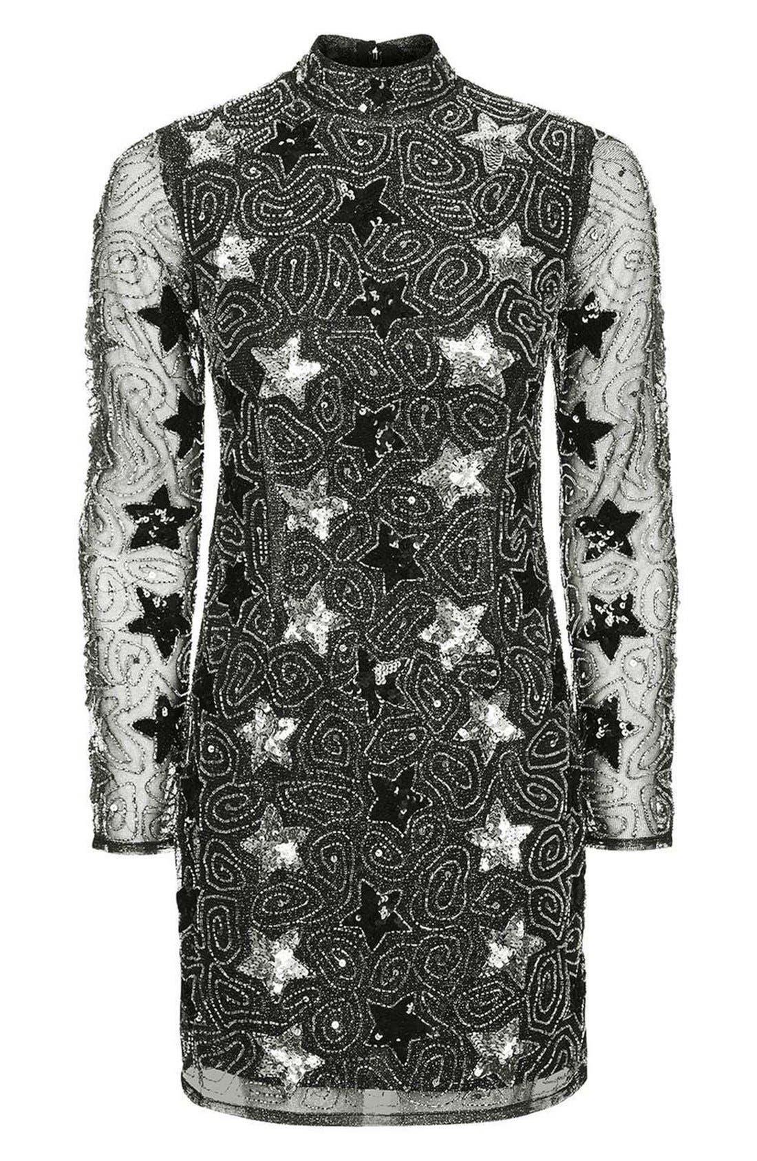 TOPSHOP, Star Embellished Minidress, Alternate thumbnail 2, color, 040