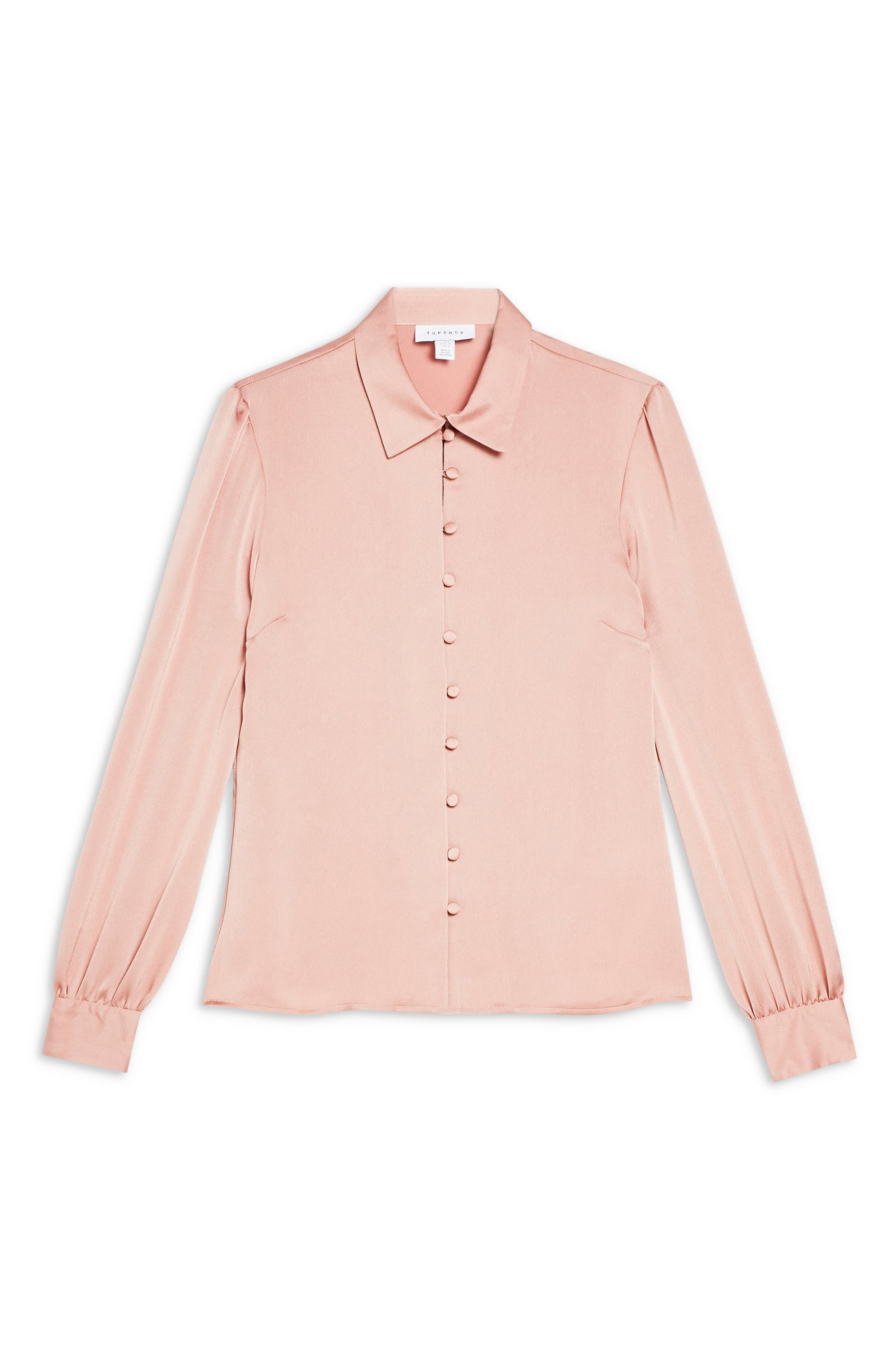 TOPSHOP, Rouleau Button Shirt, Alternate thumbnail 3, color, BLUSH