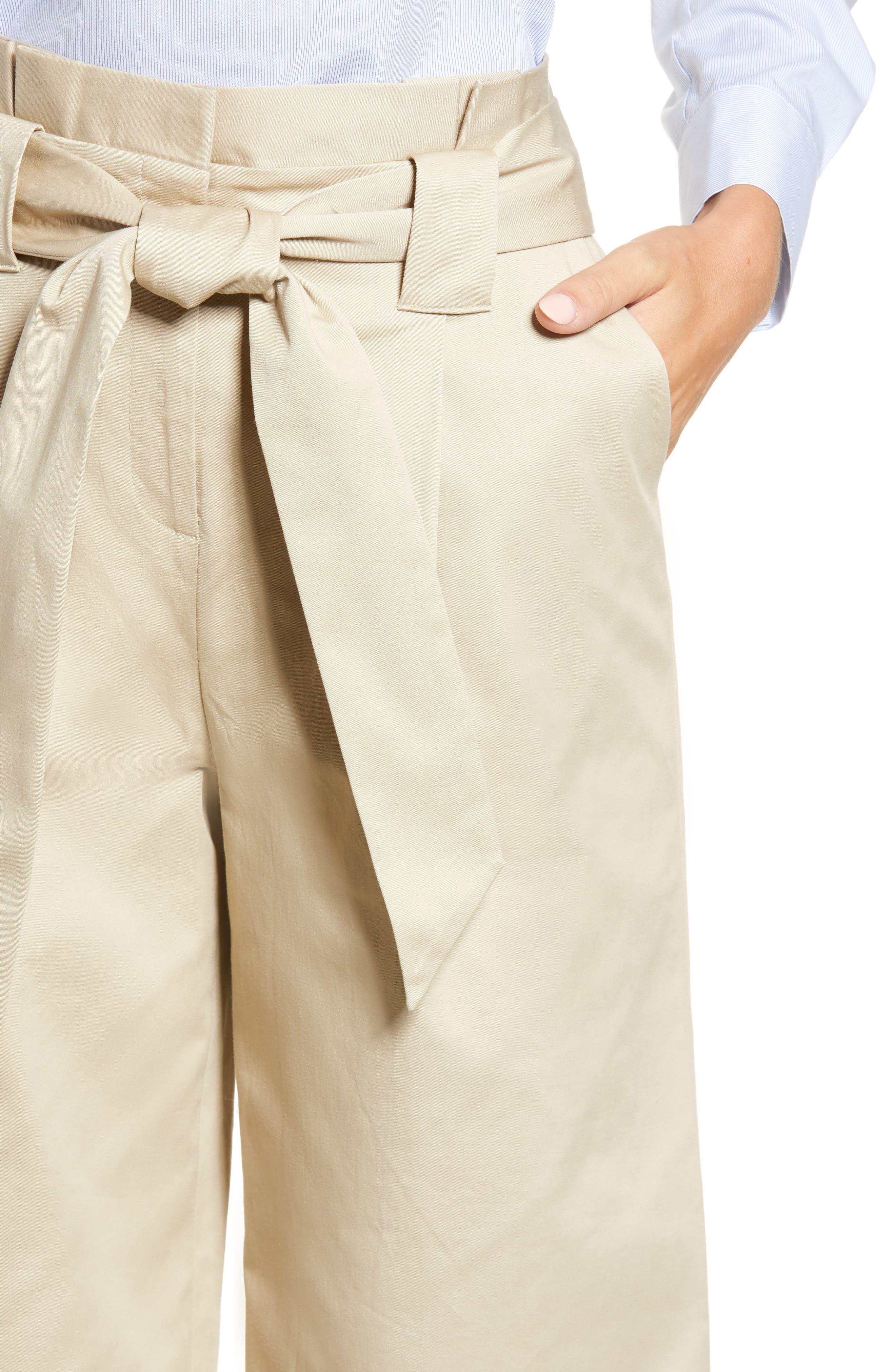 HALOGEN<SUP>®</SUP>, Paperbag Waist Belted Wide Leg Crop Pants, Alternate thumbnail 5, color, TAN OXFORD