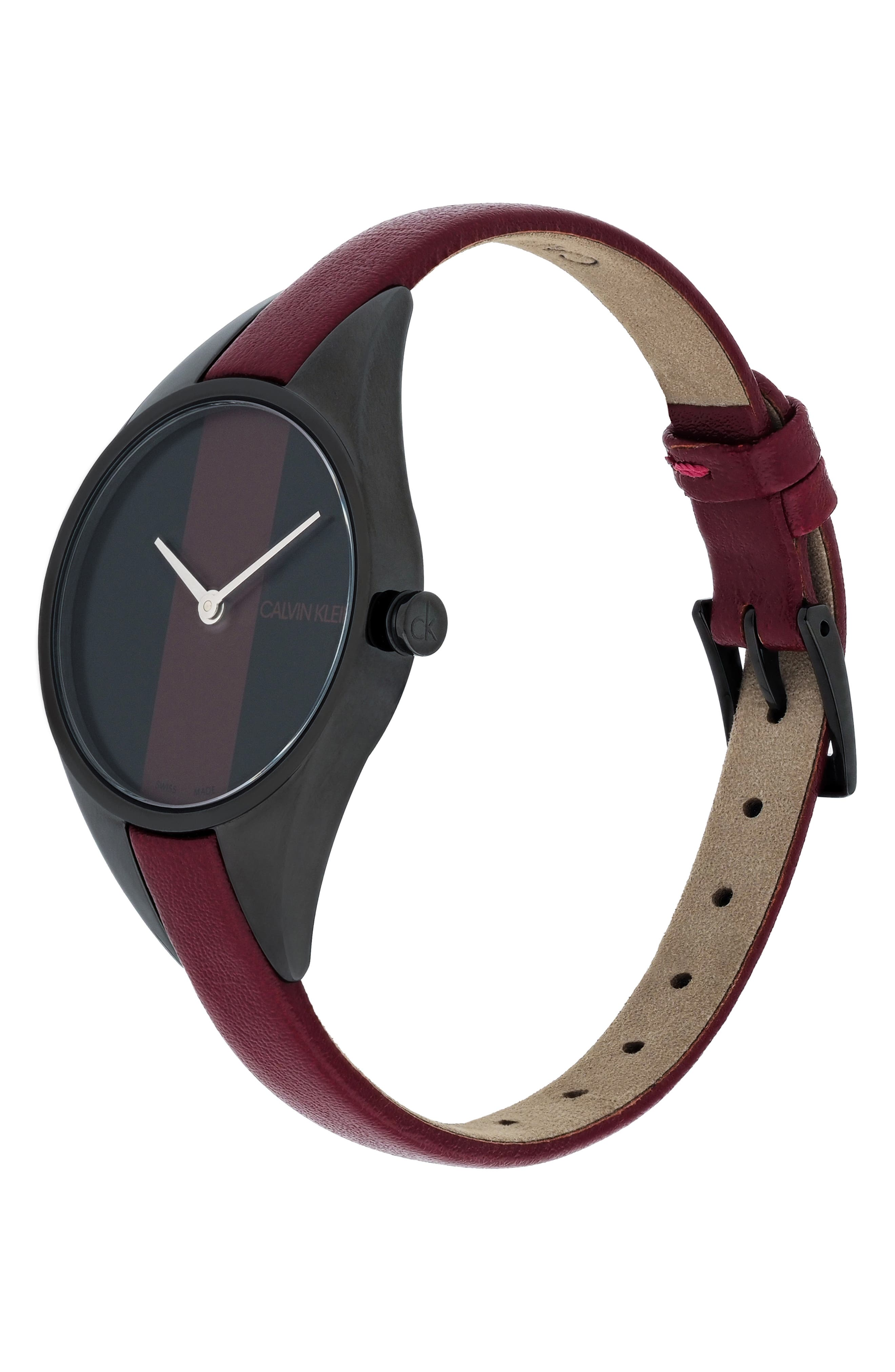CALVIN KLEIN, Achieve Rebel Leather Band Watch, 29mm, Alternate thumbnail 4, color, RED/ BLACK
