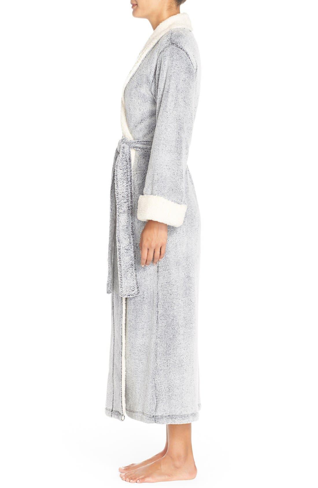 NATORI, Plush Velour Robe, Alternate thumbnail 9, color, BLACK