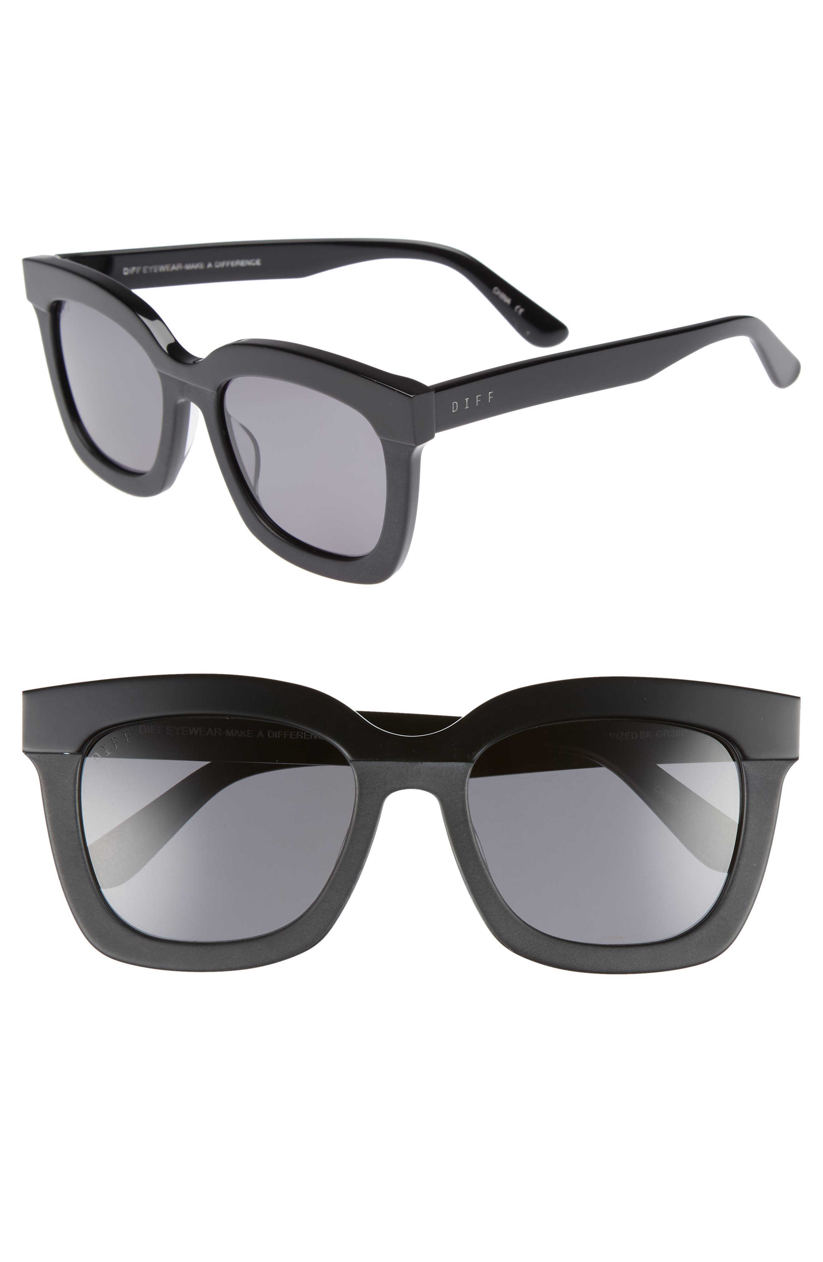DIFF, Carson 53mm Polarized Square Sunglasses, Main thumbnail 1, color, BLACK/ GREY