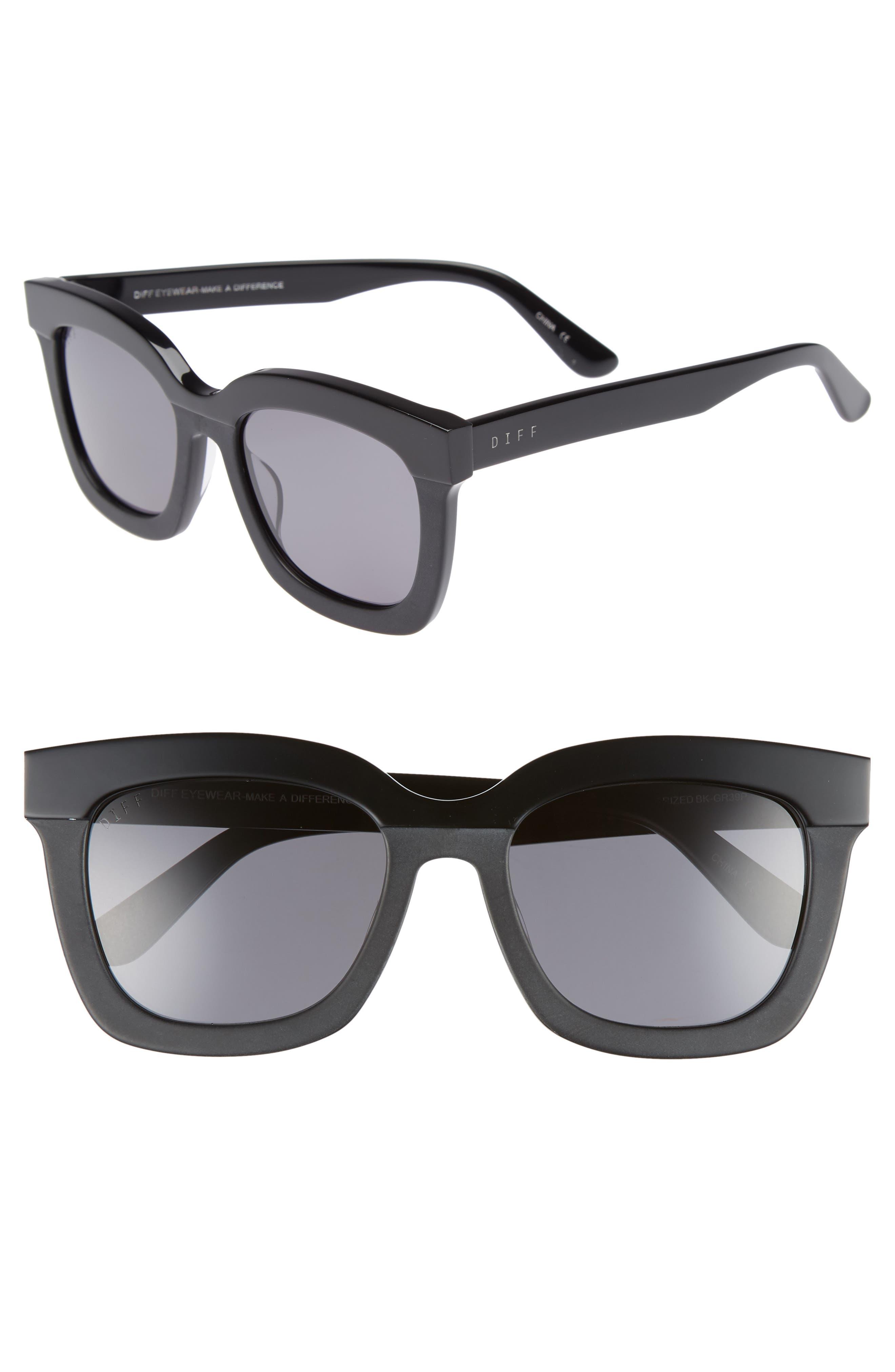 DIFF Carson 53mm Polarized Square Sunglasses, Main, color, BLACK/ GREY