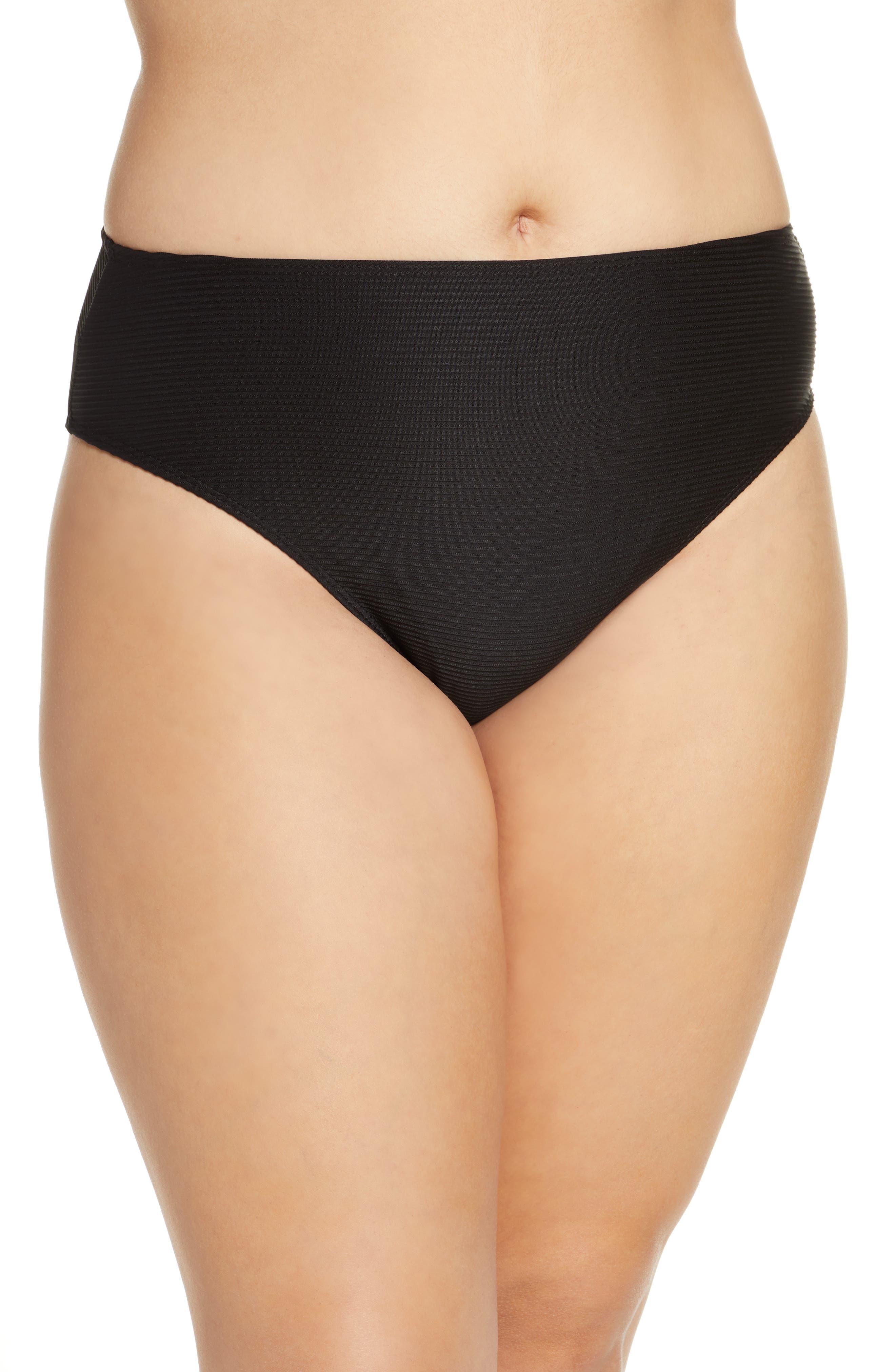 TOPSHOP, Ribbed High Waist Bikini Bottoms, Alternate thumbnail 5, color, BLACK