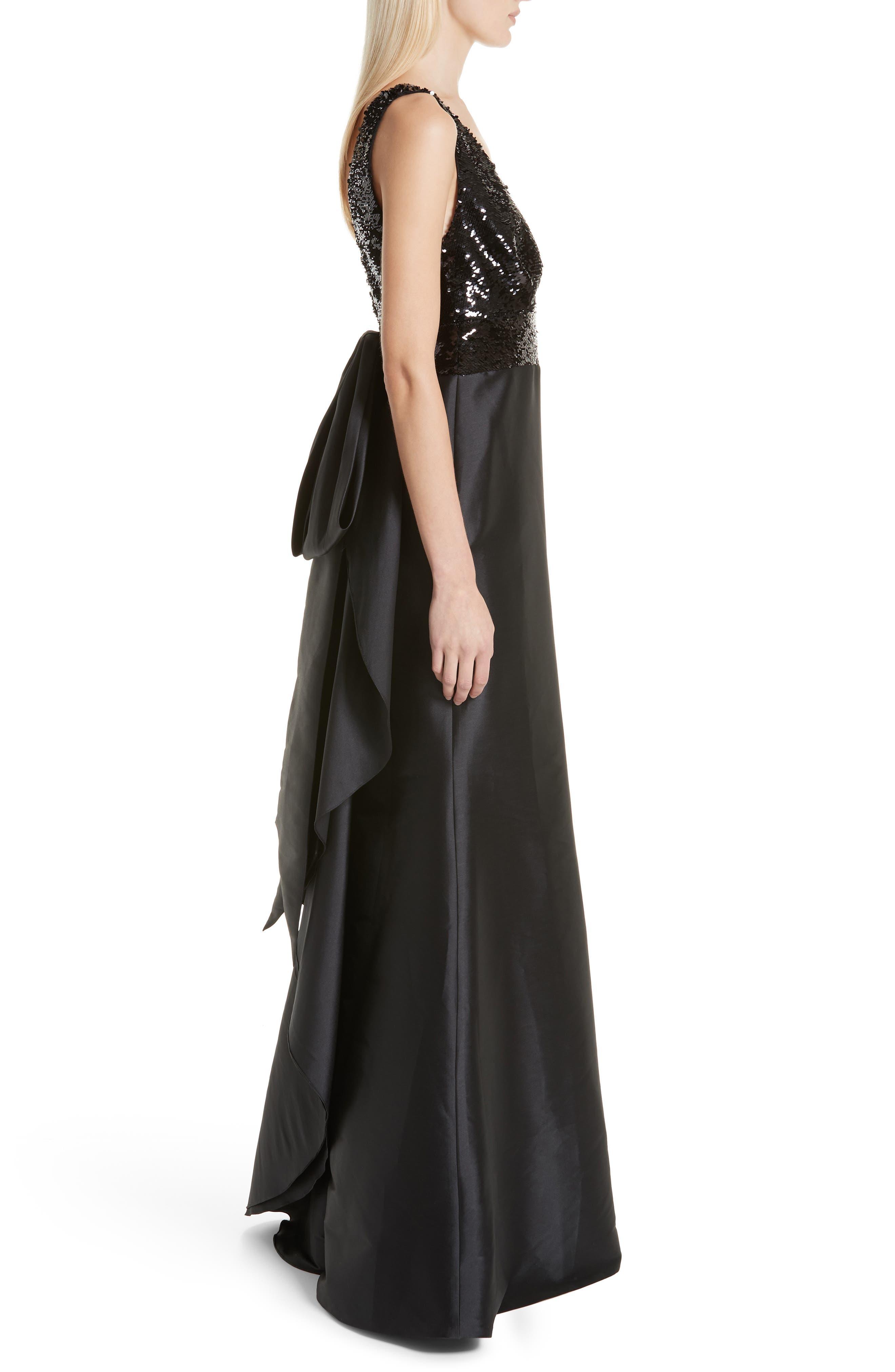 SACHIN & BABI, Topanga Sequin Bodice Bow Back Gown, Alternate thumbnail 4, color, JET