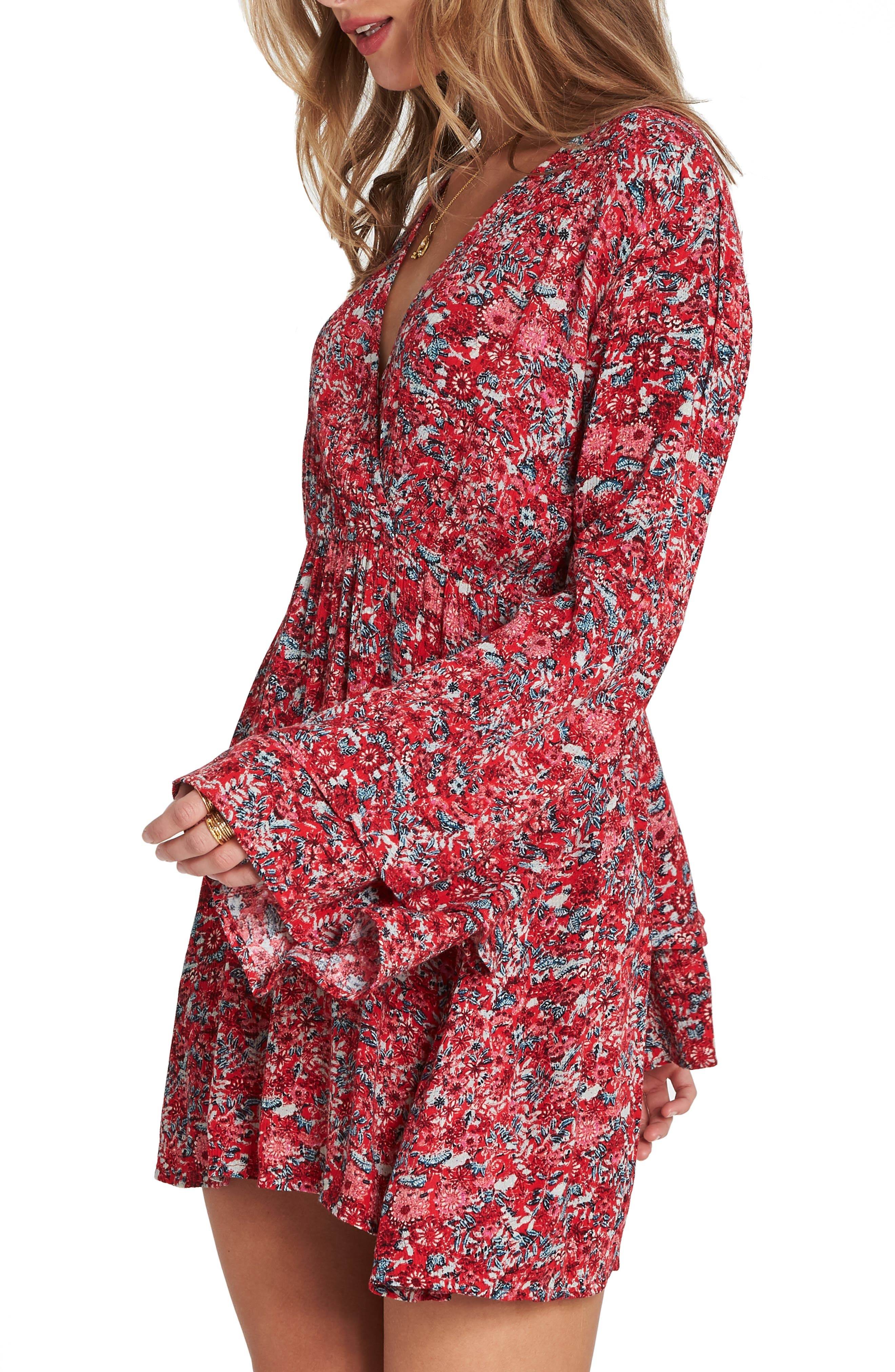 BILLABONG, Night Fever Bell Sleeve Dress, Alternate thumbnail 3, color, 601