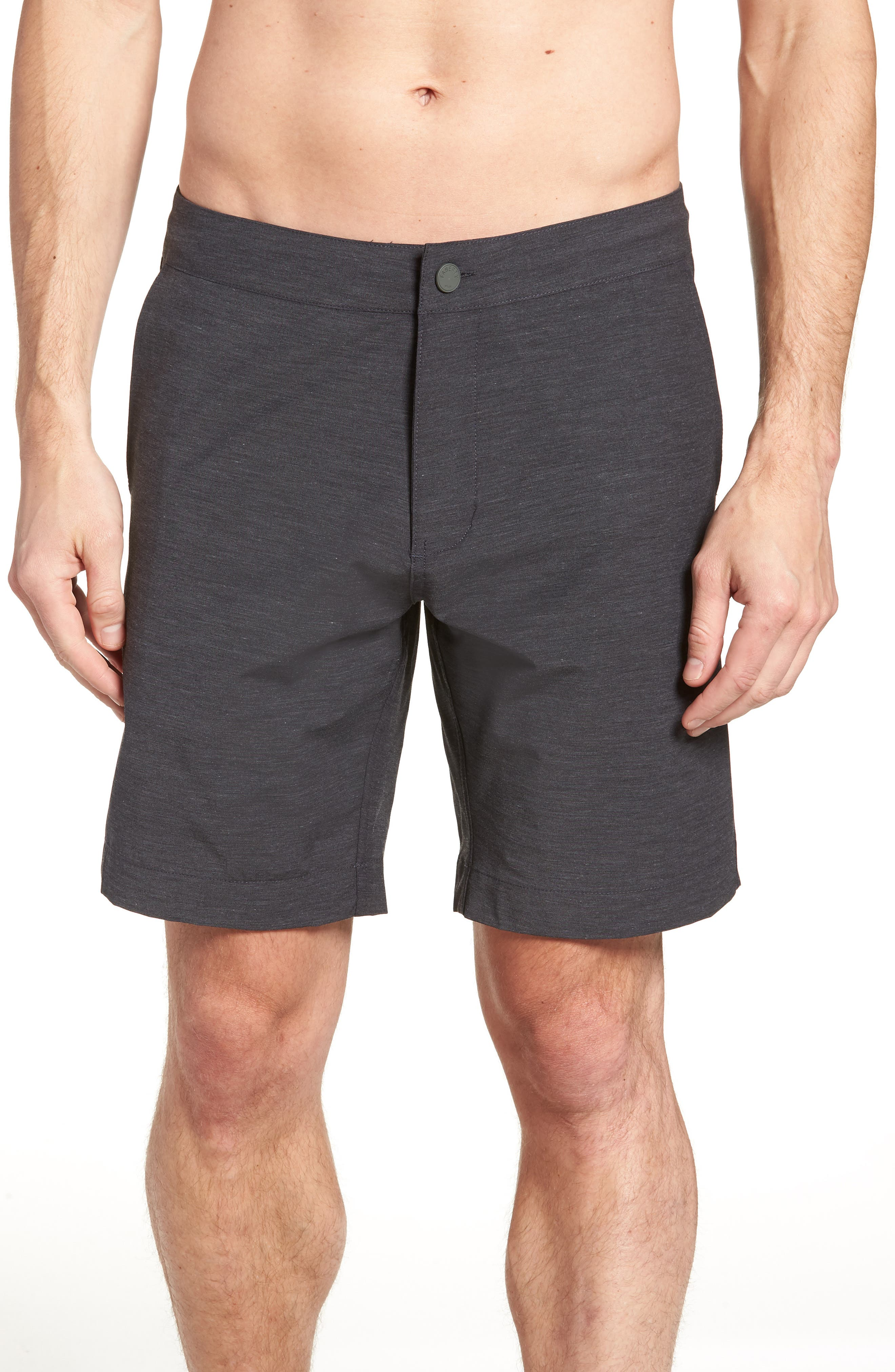 FAHERTY, All Day Flat Front Shorts, Alternate thumbnail 4, color, CHARCOAL