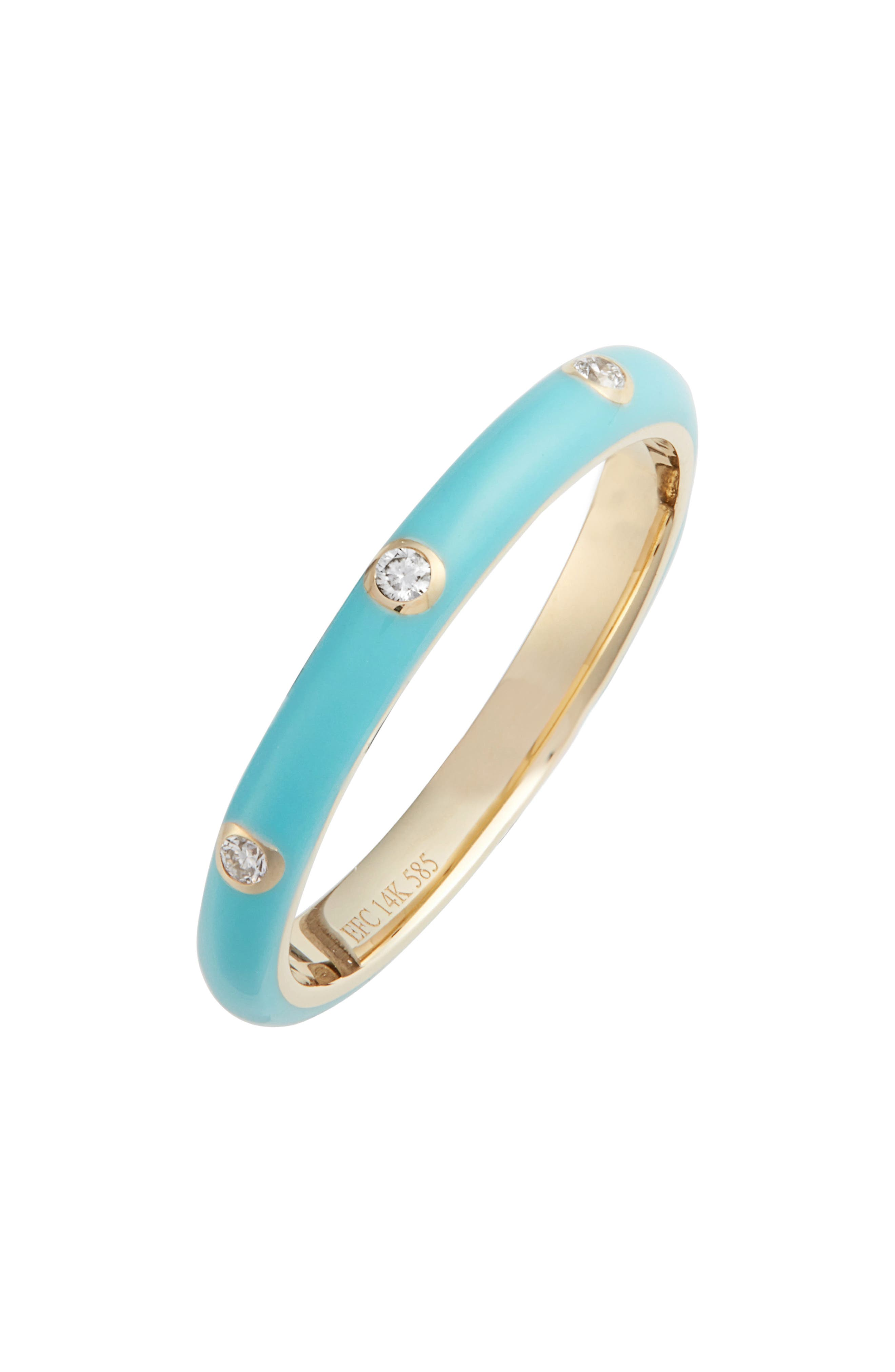 EF COLLECTION, Diamond Enamel Stacking Ring, Main thumbnail 1, color, YELLOW GOLD/ TURQUOISE