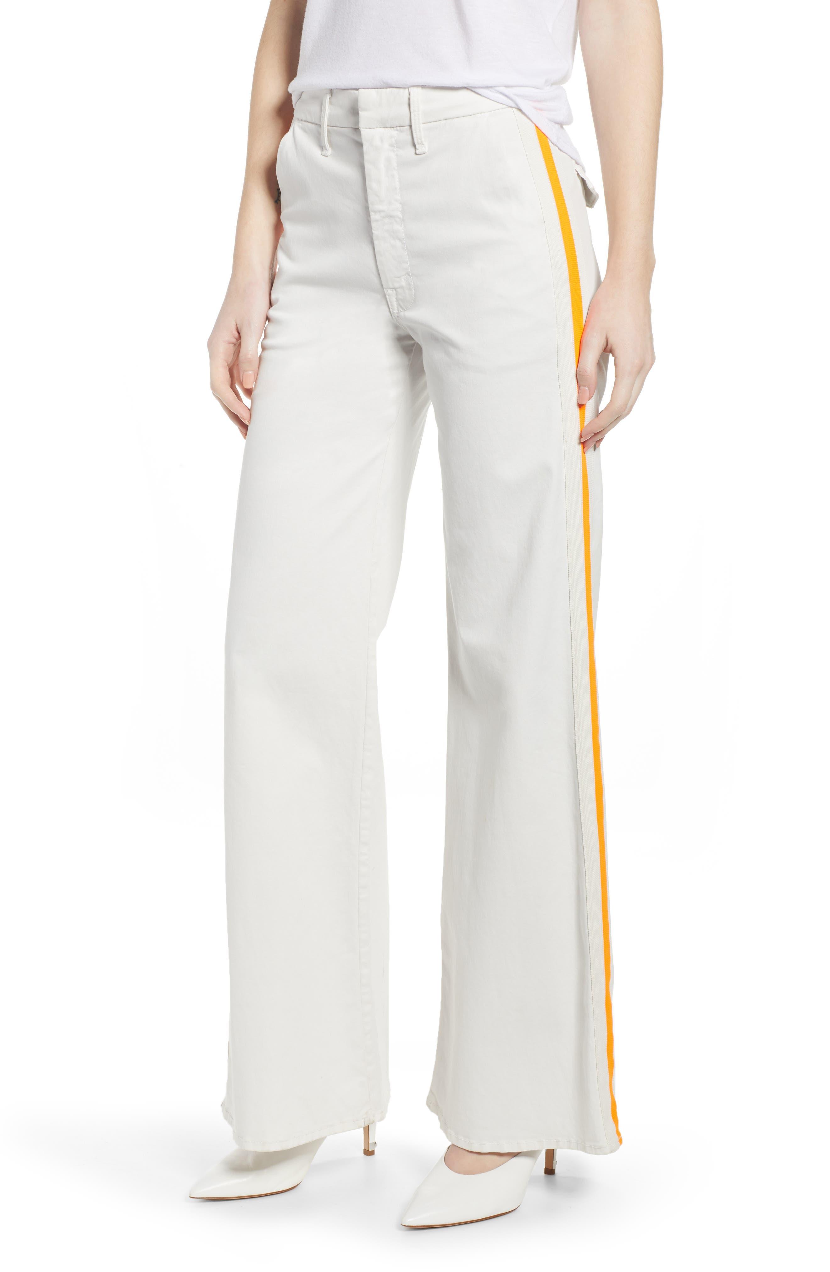 MOTHER The Roller Flare Jeans, Main, color, CHALK/ ORANGE RACER