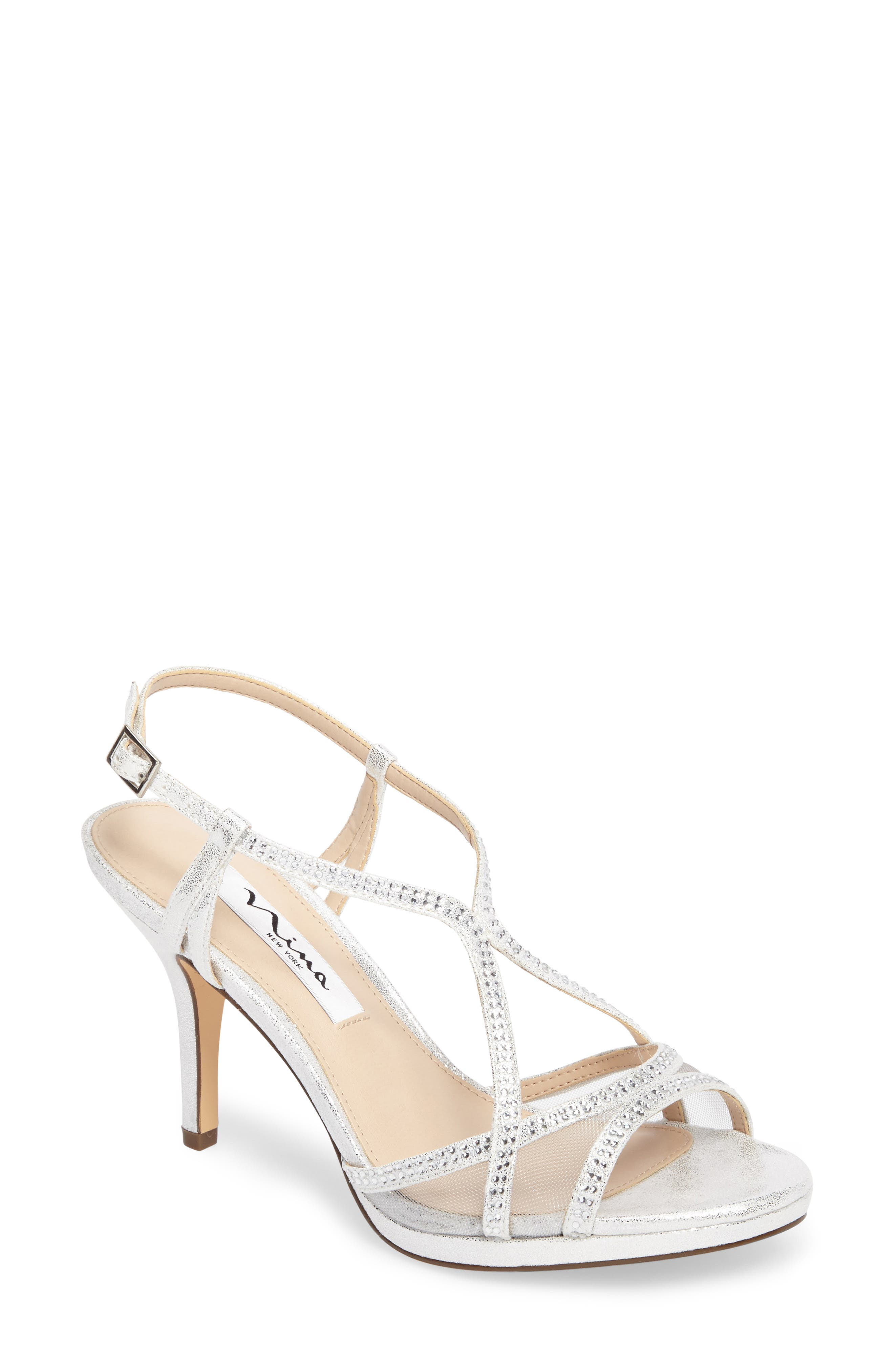 NINA, Blossom Crystal Embellished Sandal, Main thumbnail 1, color, SILVER FABRIC