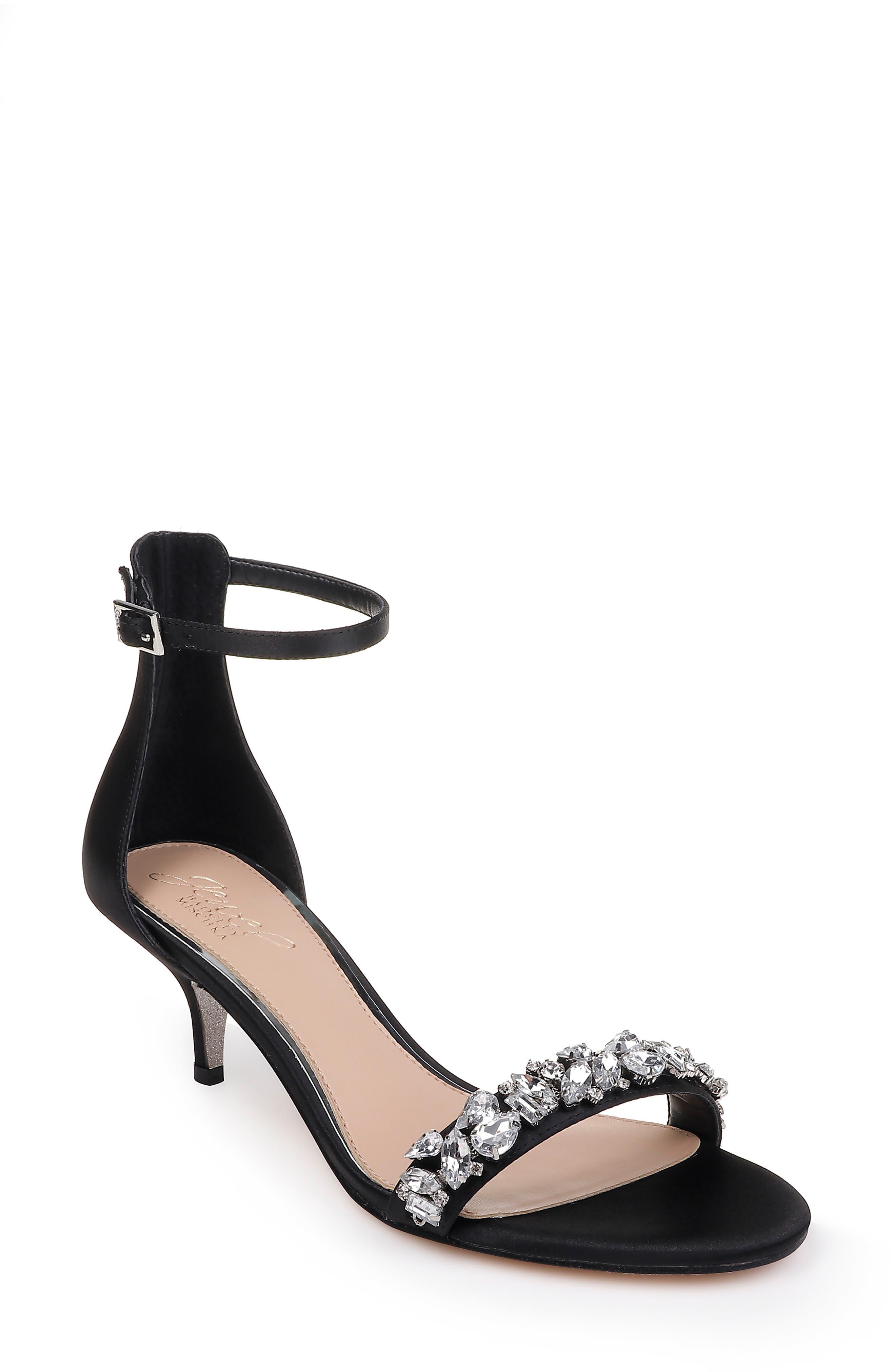 JEWEL BADGLEY MISCHKA Dash Embellished Halo Strap Sandal, Main, color, BLACK SATIN