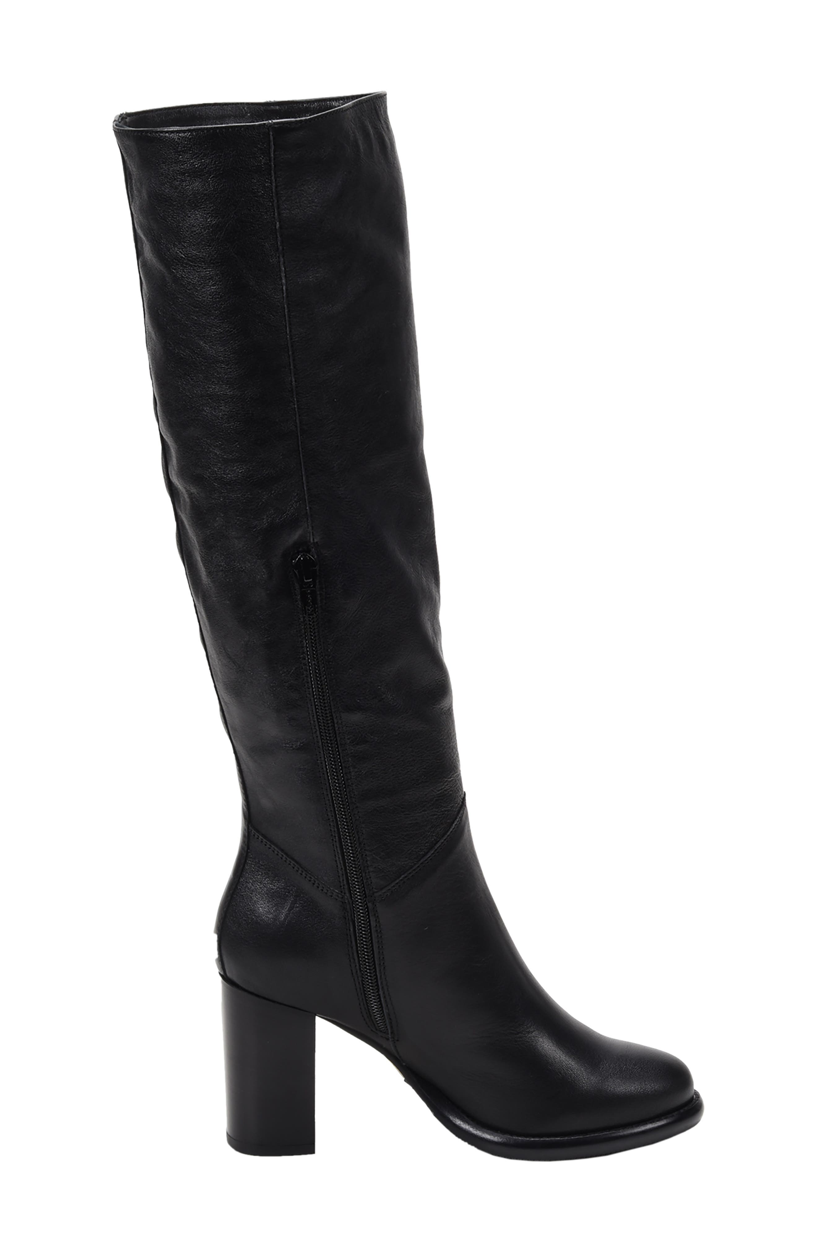 ROSS & SNOW, Michela SP Waterproof Genuine Shearling Lined Boot, Alternate thumbnail 8, color, BLACK METALLIC LEATHER