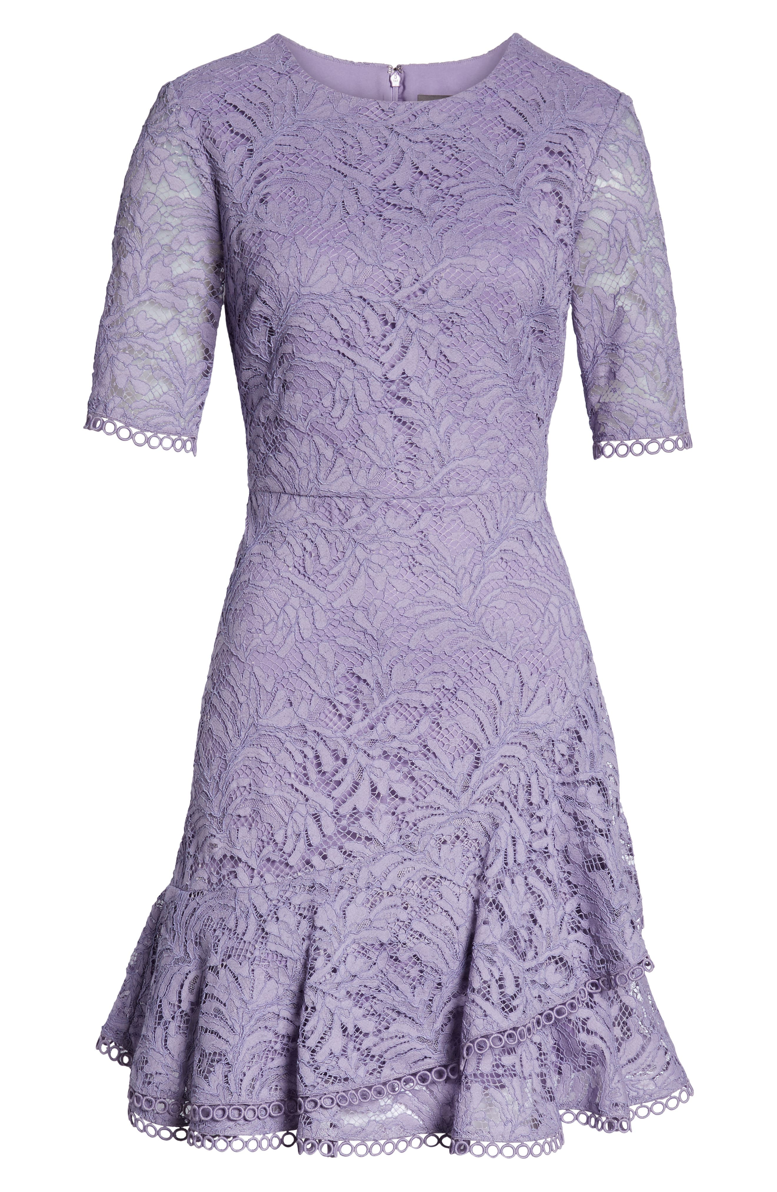 VINCE CAMUTO, Asymmetrical Ruffle Lace Fit & Flare Dress, Alternate thumbnail 7, color, 524