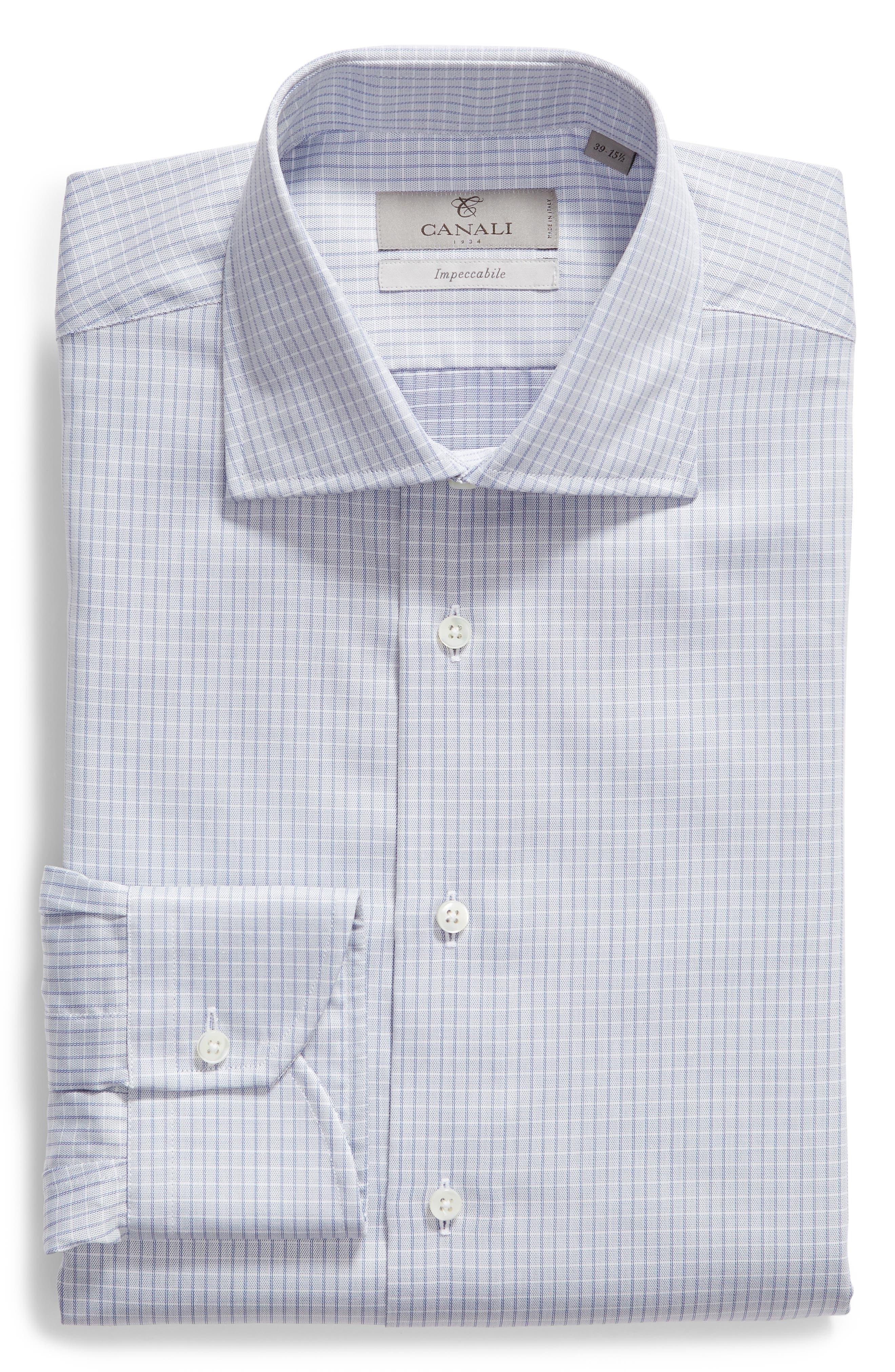 CANALI, Regular Fit Check Dress Shirt, Main thumbnail 1, color, LIGHT BLUE