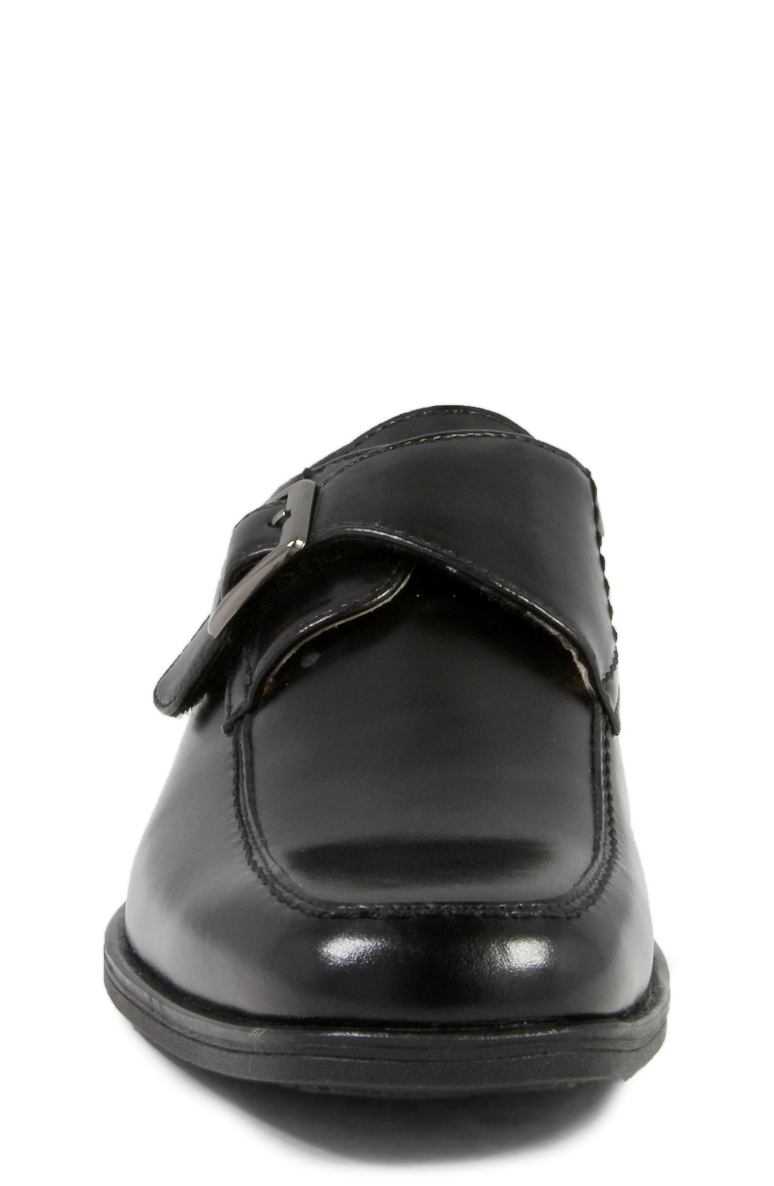 FLORSHEIM, 'Reveal' Monk Strap Slip-On, Alternate thumbnail 4, color, BLACK