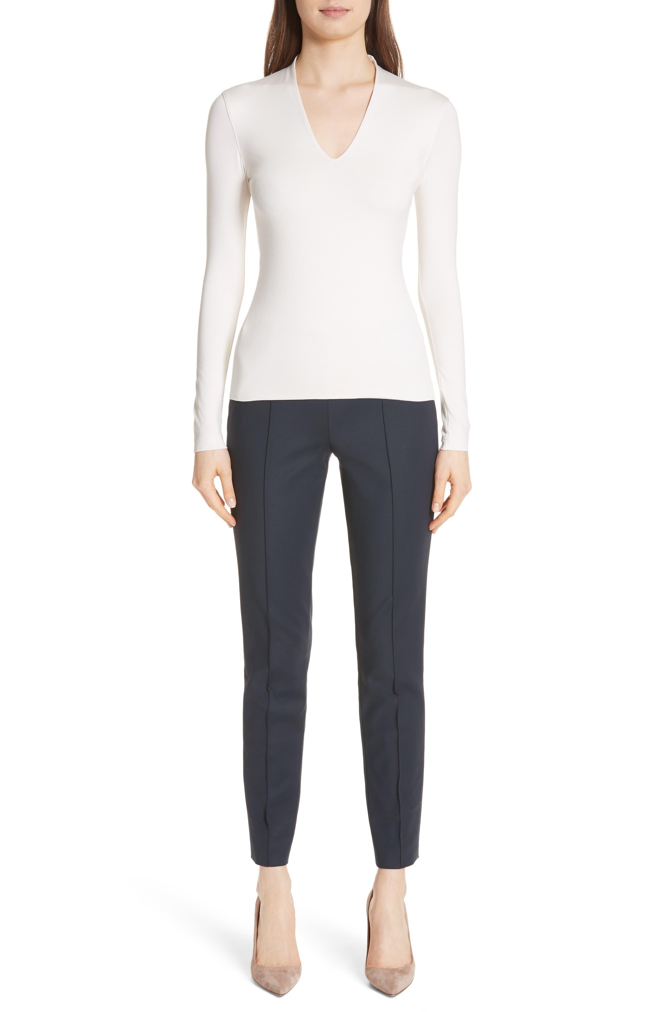 AKRIS, 'Melissa' Slim Techno Cotton Ankle Pants, Alternate thumbnail 9, color, NAVY