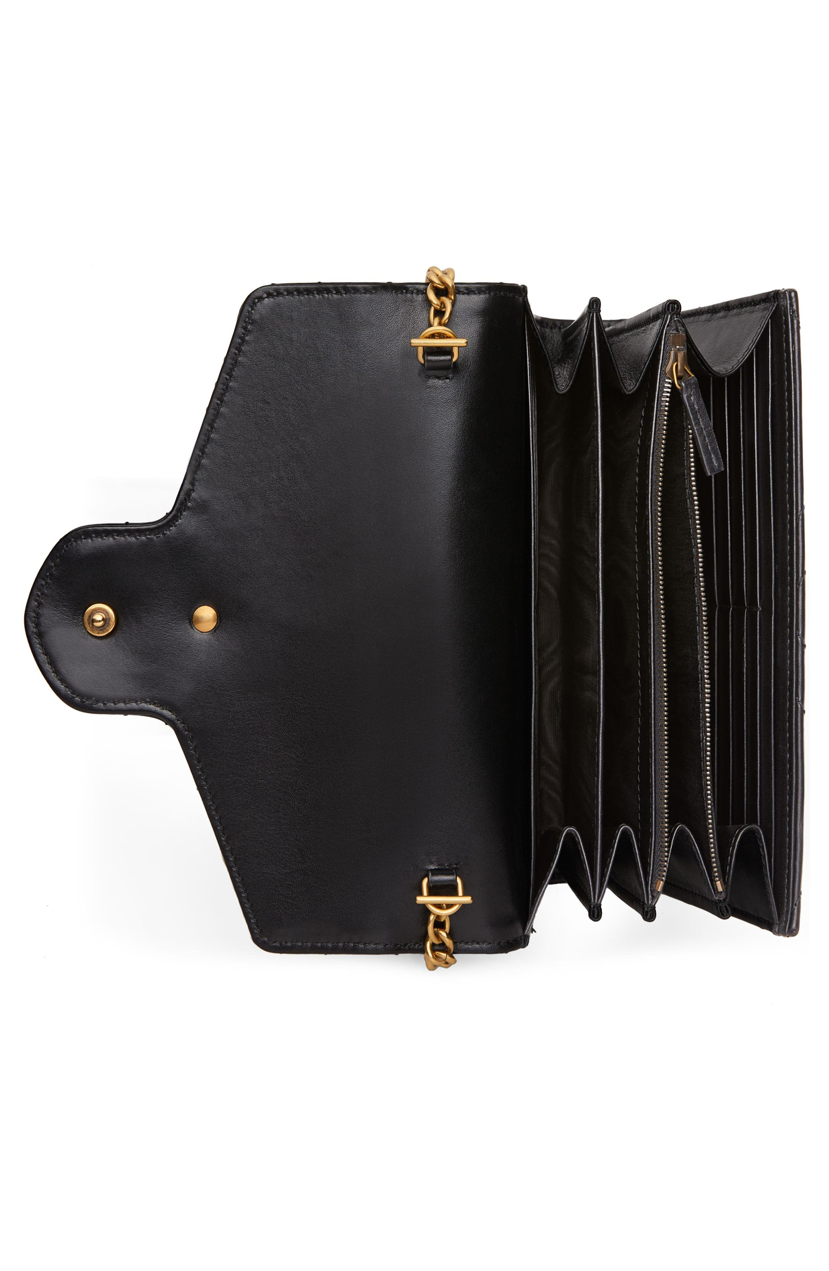 GUCCI, GG Marmont Matelassé Leather Wallet on a Chain, Alternate thumbnail 4, color, NERO