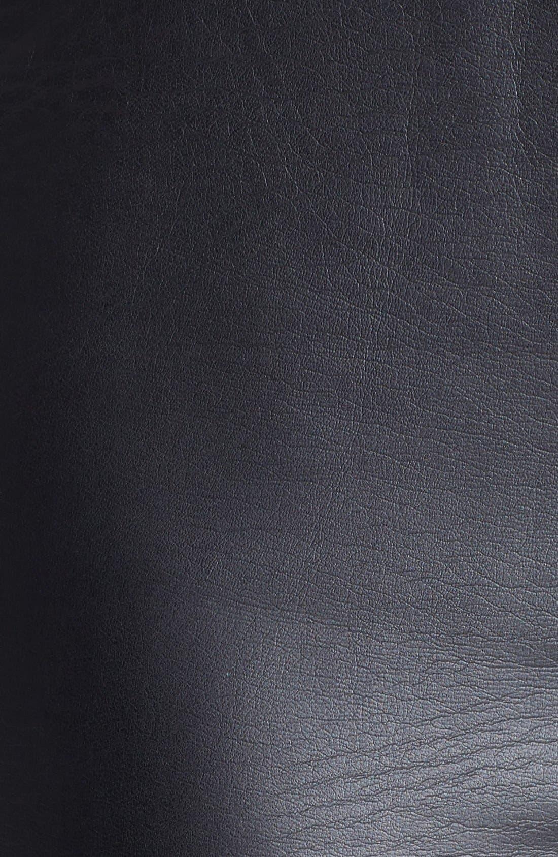TROUVÉ, Faux Leather Front Leggings, Alternate thumbnail 6, color, 001