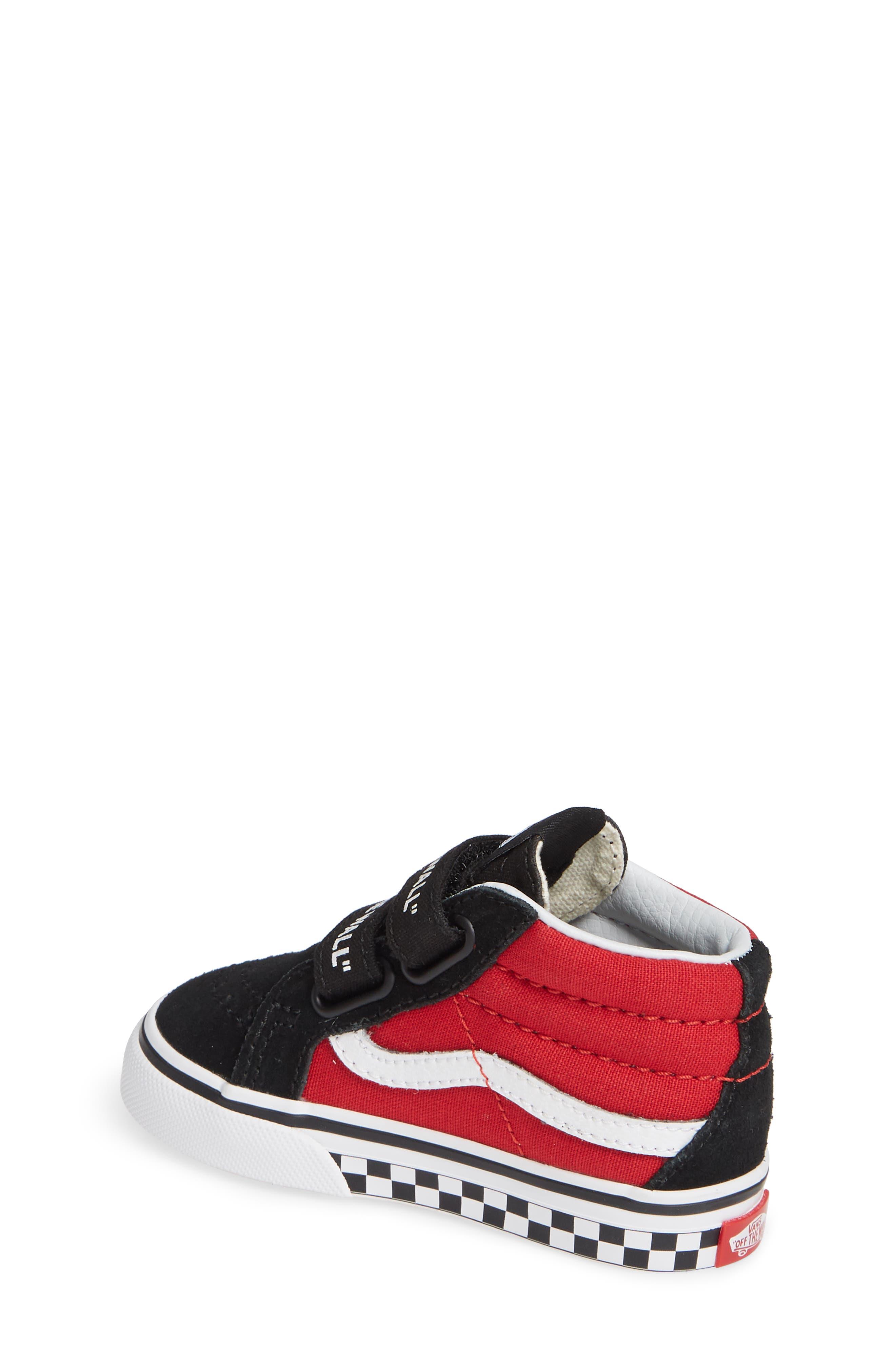 VANS, 'Sk8-Mid Reissue' Sneaker, Alternate thumbnail 2, color, BLACK/ RED / WHITE