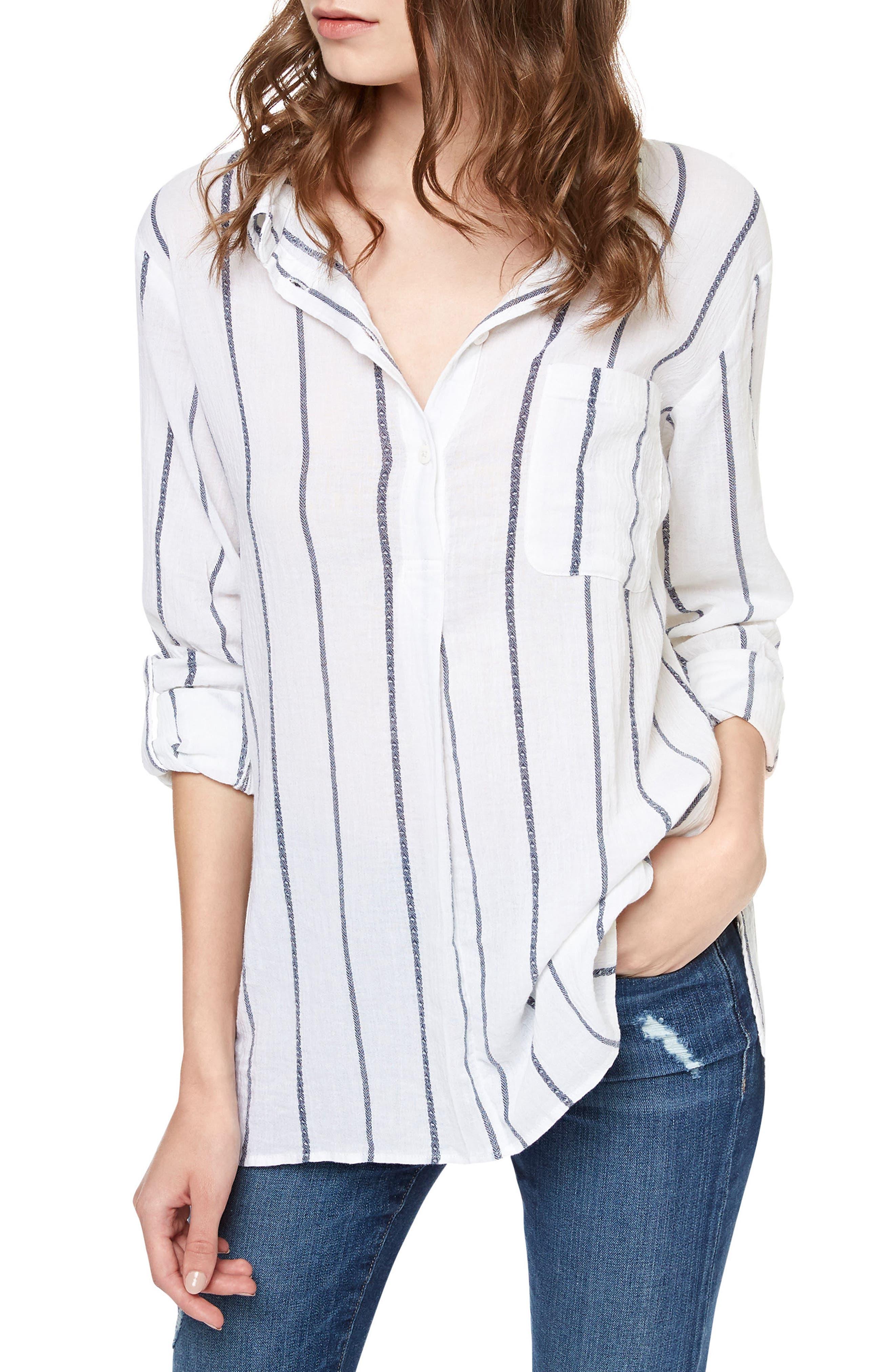 SANCTUARY Miles Stripe Roll Sleeve Tunic, Main, color, 110