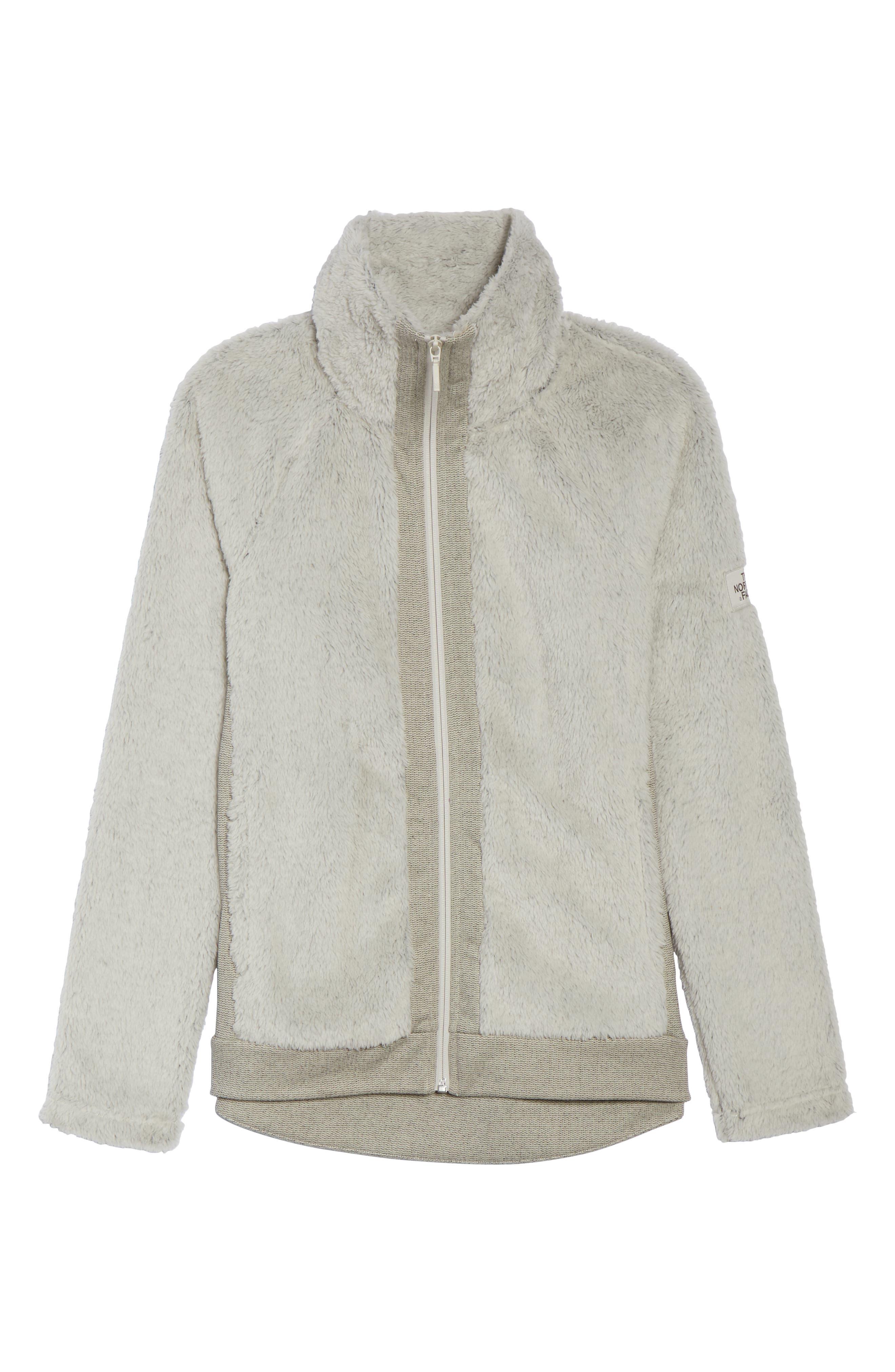 THE NORTH FACE, Furry Fleece Jacket, Alternate thumbnail 6, color, VINTAGE WHITE