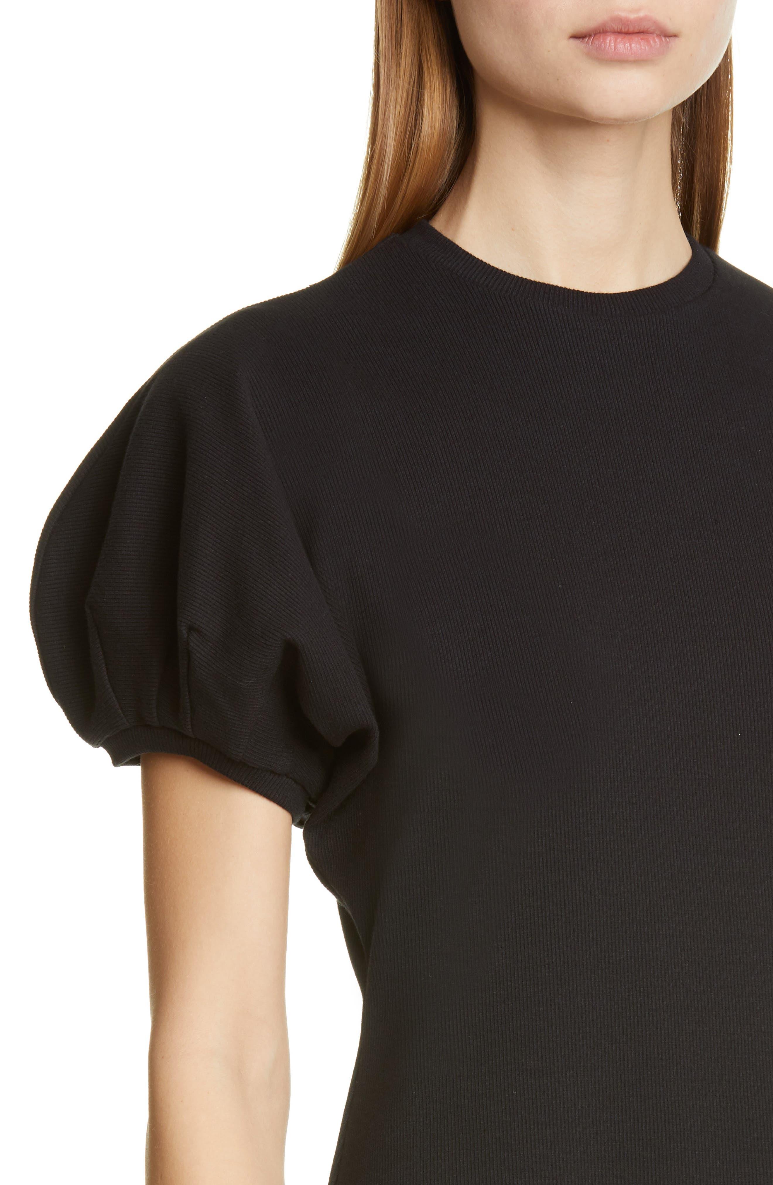 BEAUFILLE, Leda Puff Sleeve Dress, Alternate thumbnail 4, color, BLACK