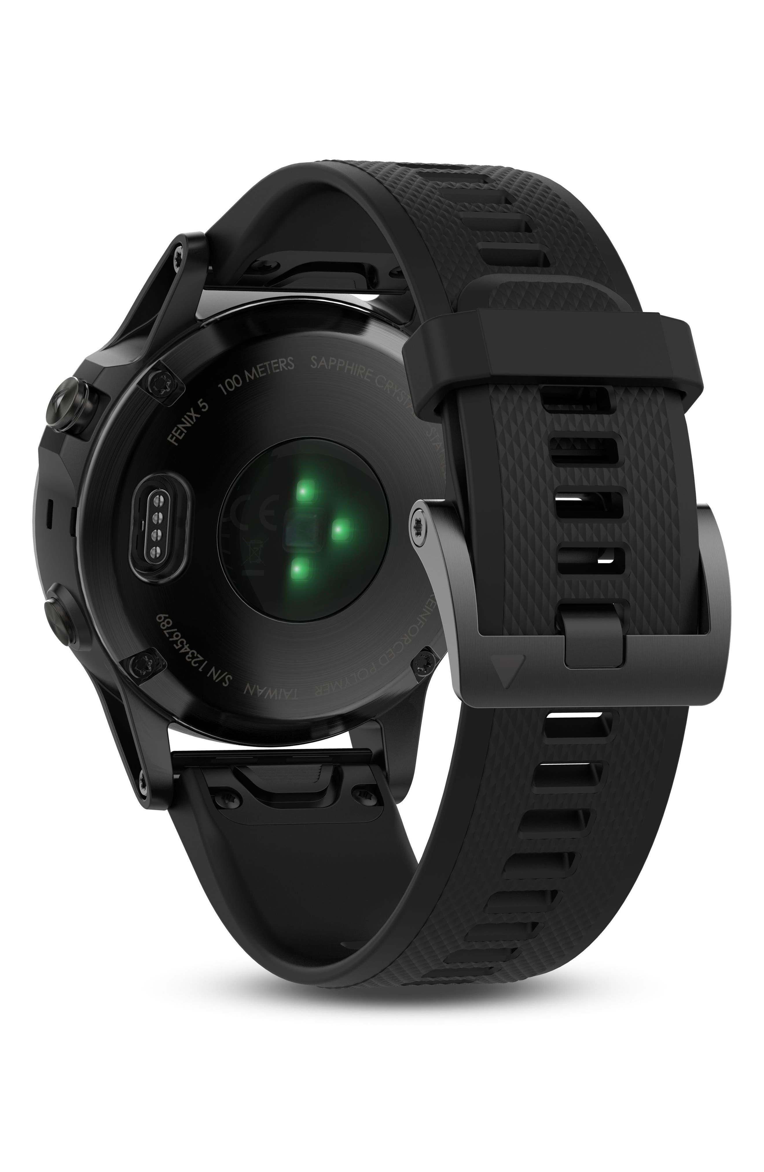 GARMIN, fenix<sup>®</sup> 5 Sapphire Premium Multisport GPS Watch, 47mm, Alternate thumbnail 2, color, BLACK/ BLACK SAPPHIRE