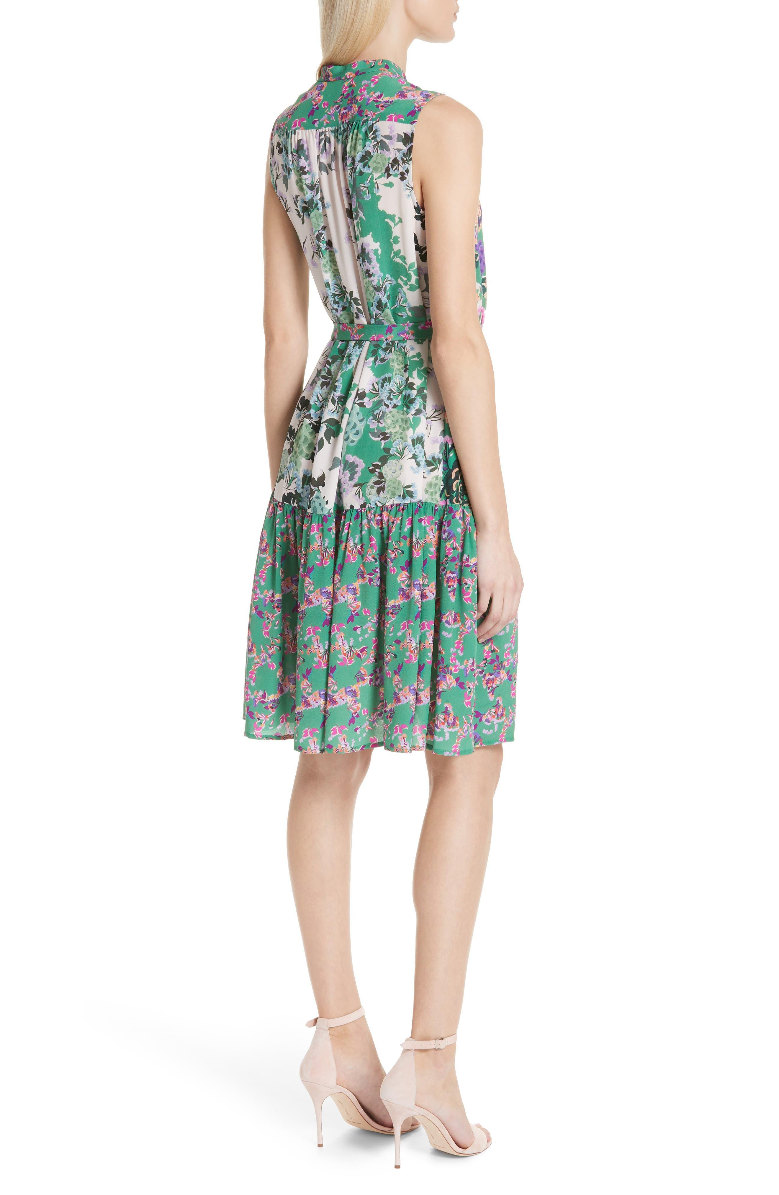 SALONI, Tilly Print Silk Dress, Alternate thumbnail 2, color, ROSE MEADOW PLMT
