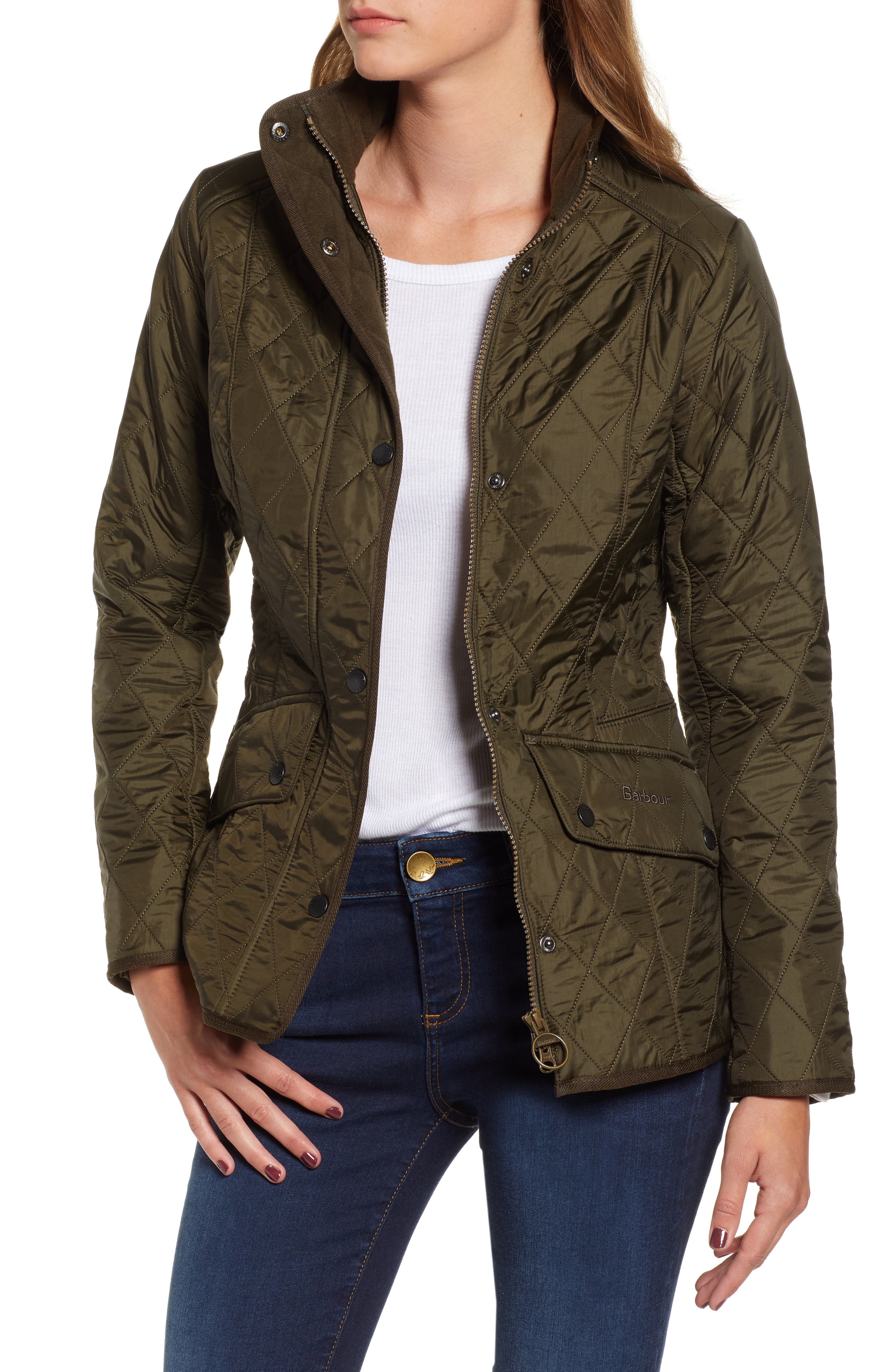 BARBOUR, 'Cavalry' Quilted Jacket, Main thumbnail 1, color, DARK OLIVE/ OLIVE