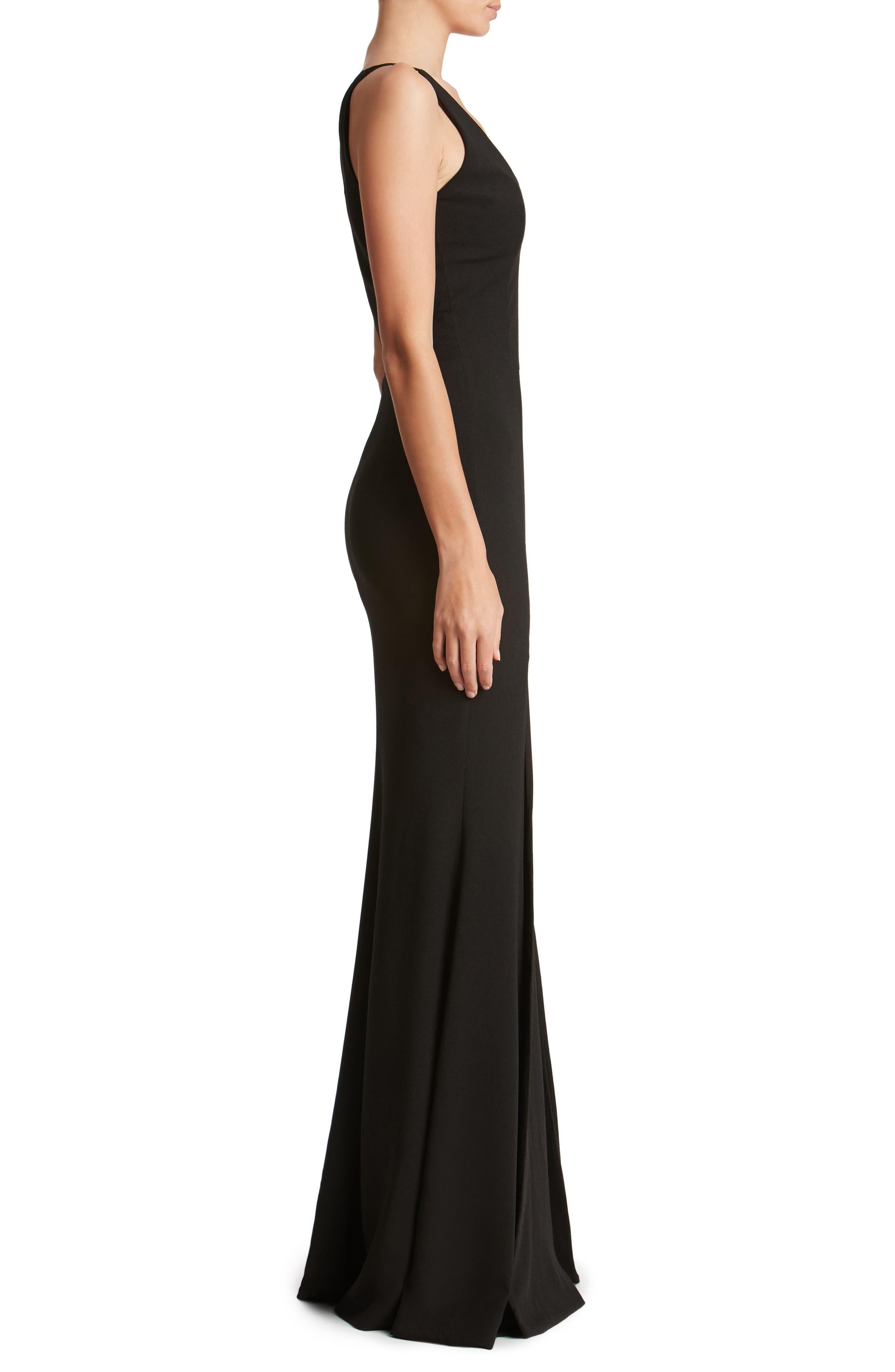 DRESS THE POPULATION, Iris Slit Crepe Gown, Alternate thumbnail 4, color, BLACK