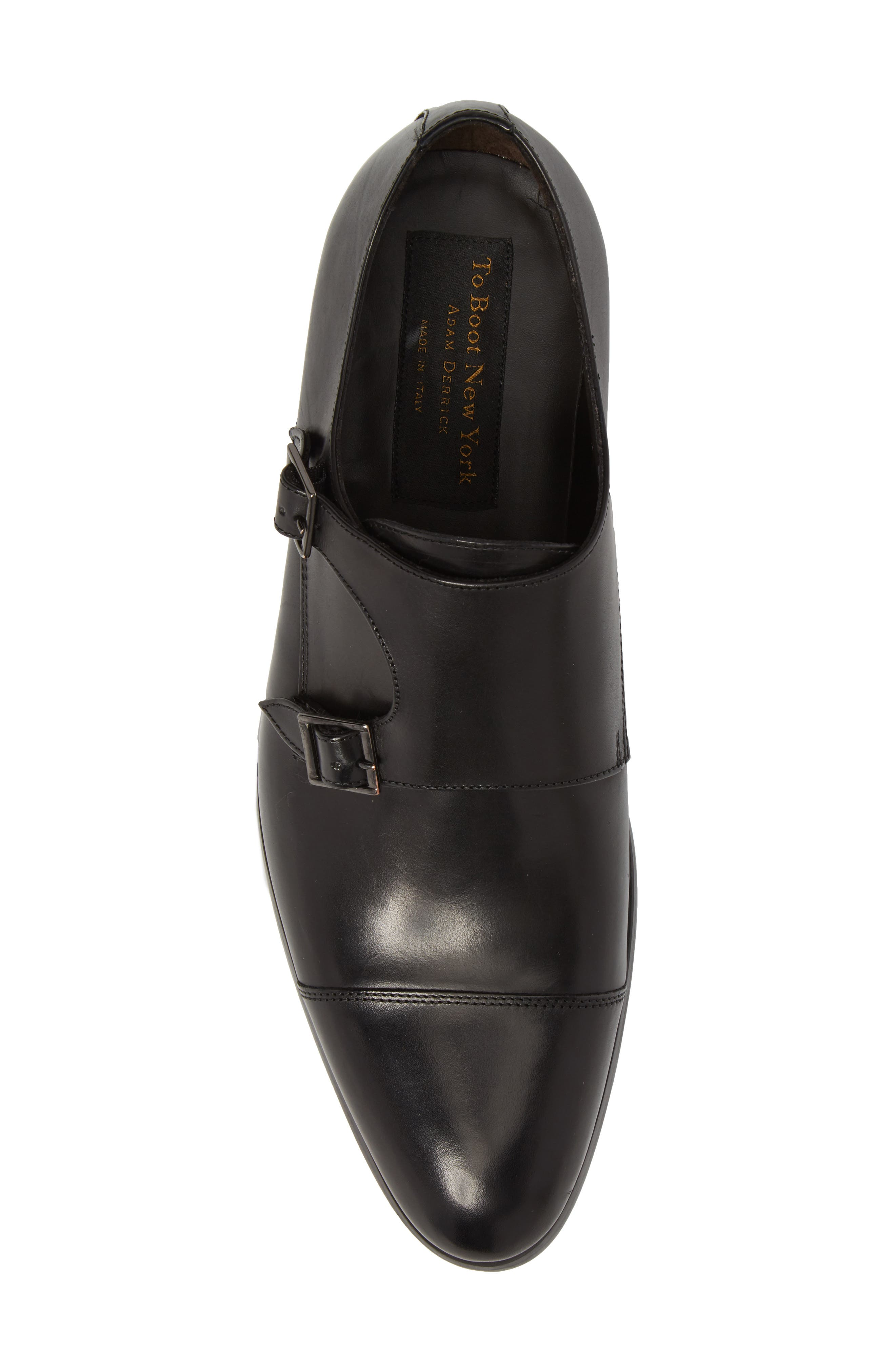 TO BOOT NEW YORK, Bankston Cap Toe Double Strap Monk Shoe, Alternate thumbnail 5, color, BLACK LEATHER