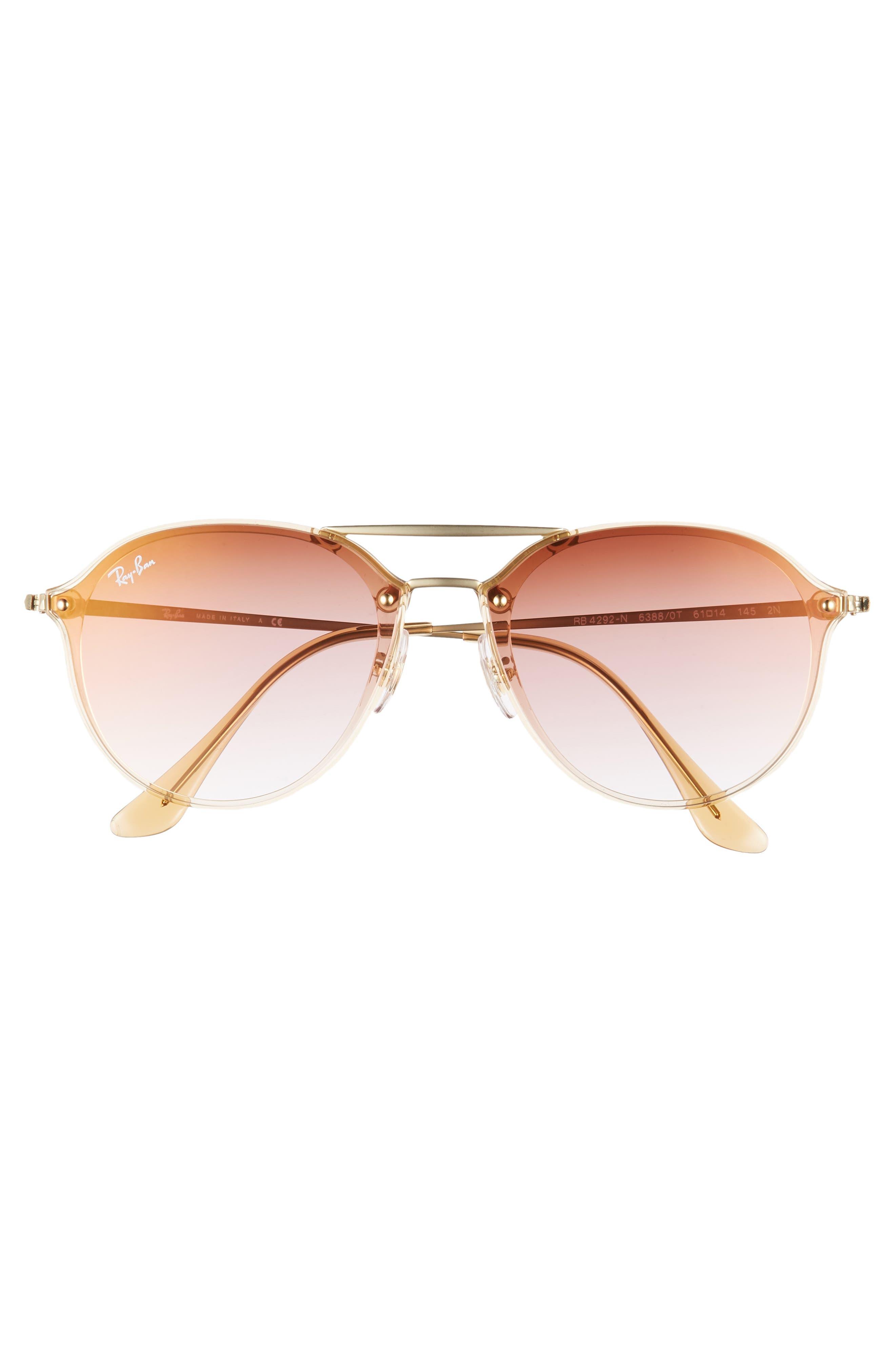 RAY-BAN, 61mm Gradient Aviator Sunglasses, Alternate thumbnail 3, color, GOLD/ BROWN GRADIENT