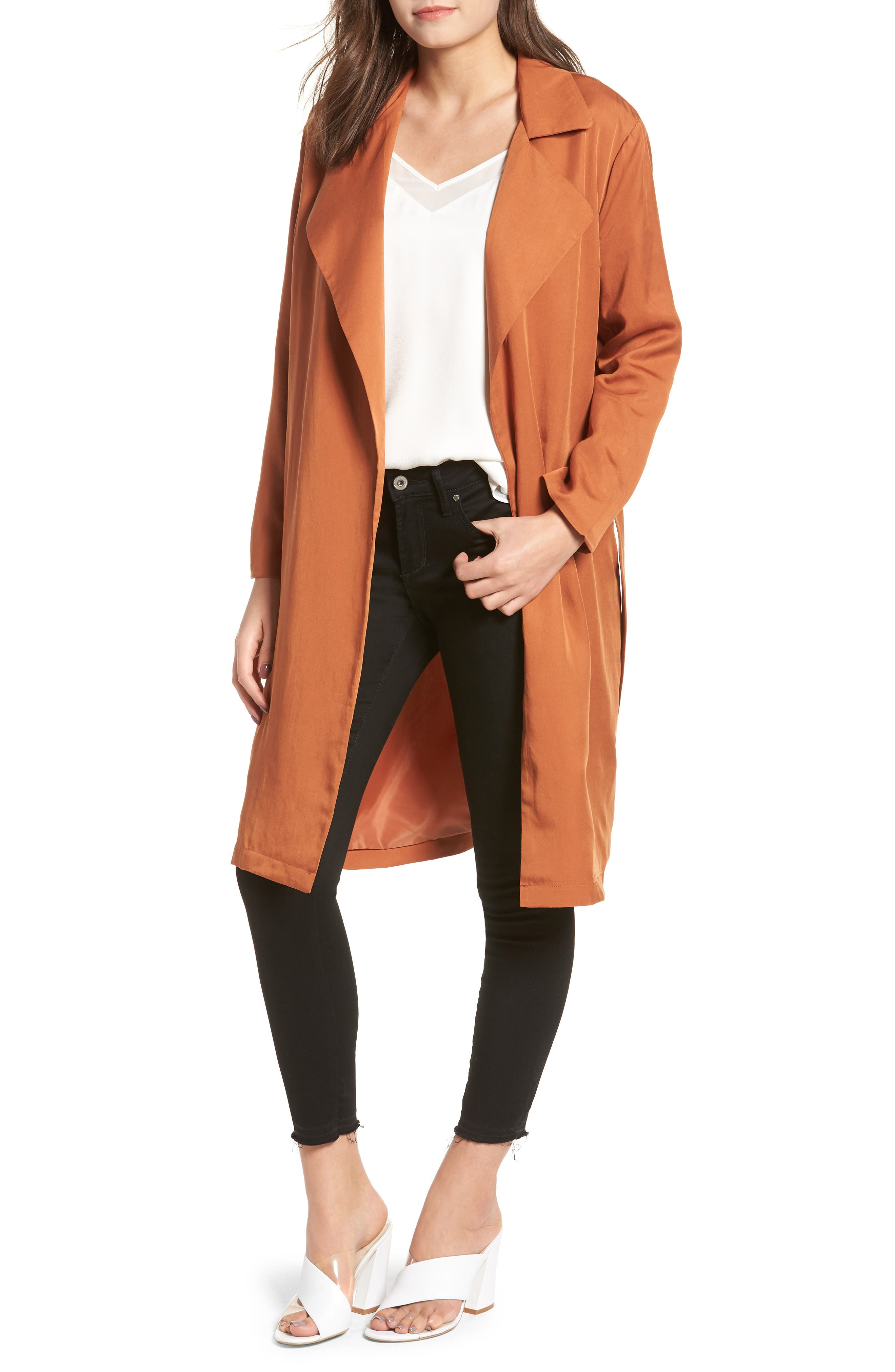 LIRA CLOTHING, Carmen Belted Trench Coat, Main thumbnail 1, color, BROWN
